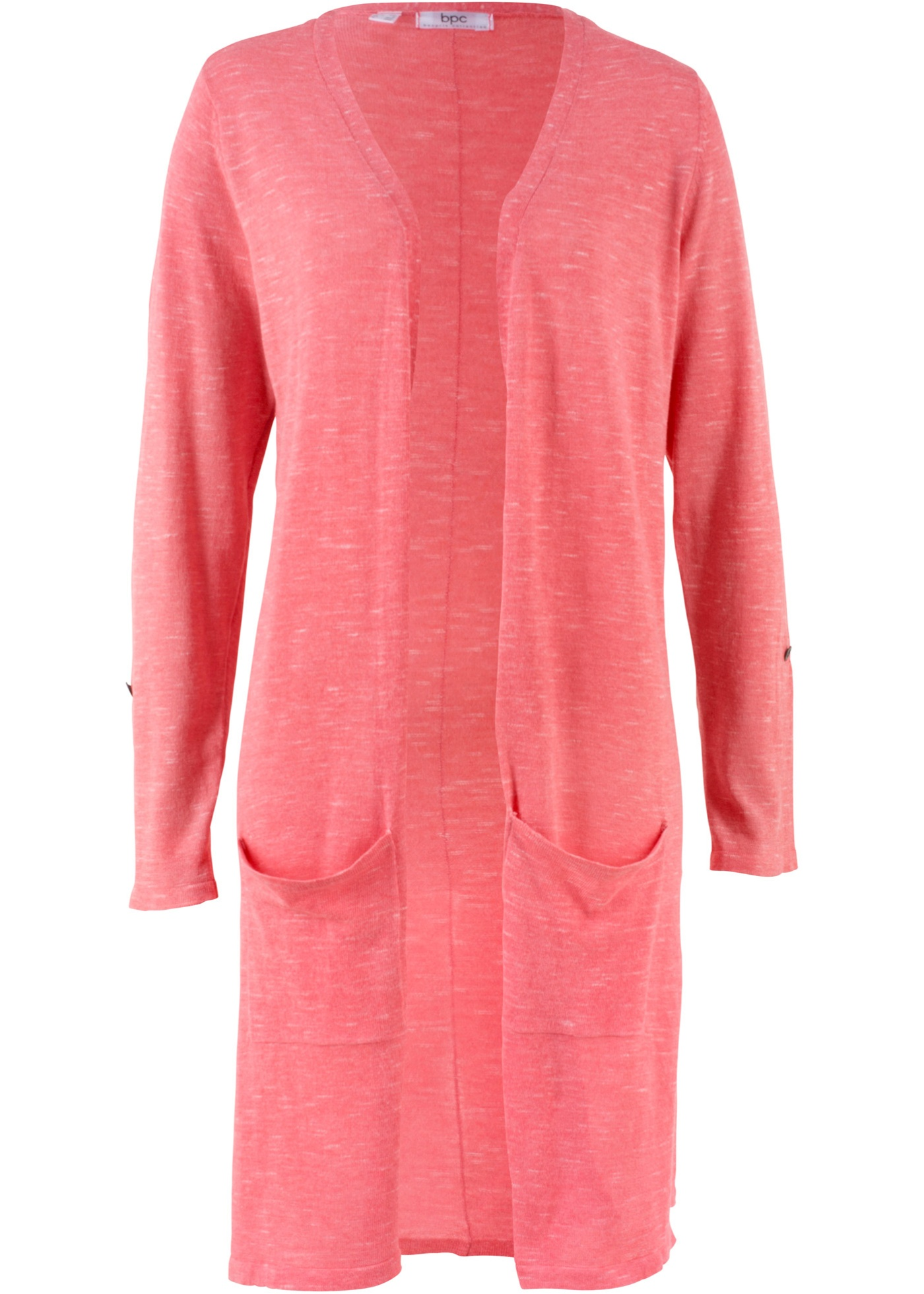 Dlouhý pletený kabátek - Pink