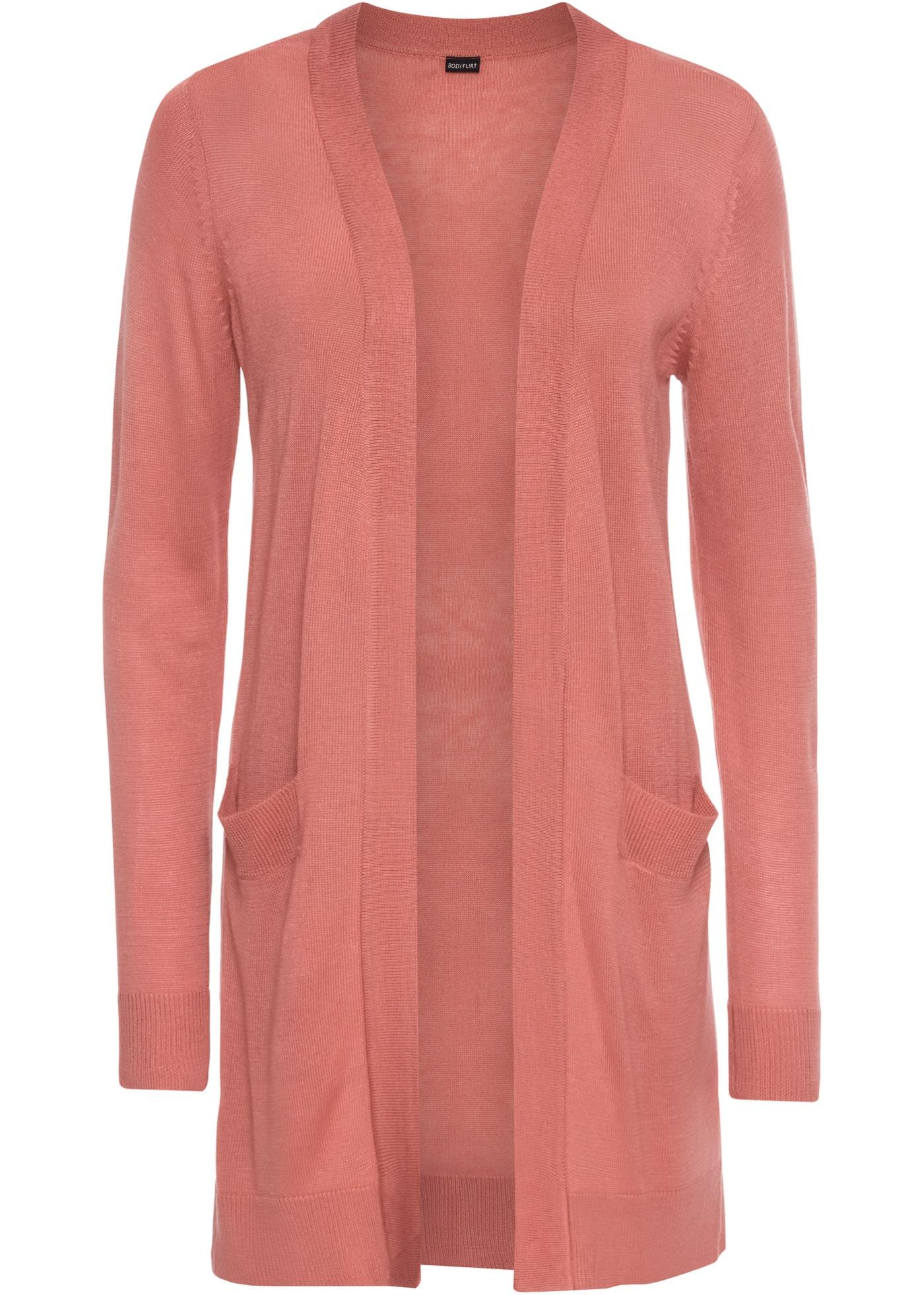 Dlouhý pletený kabátek - Růžová