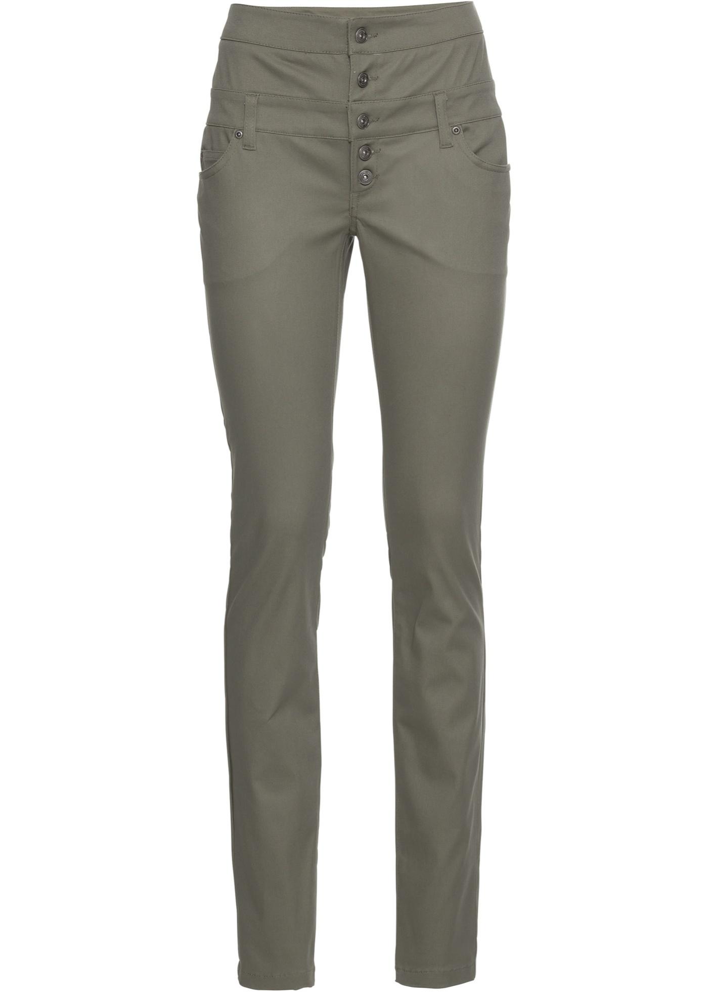 Strečové kalhoty Skinny - Zelená