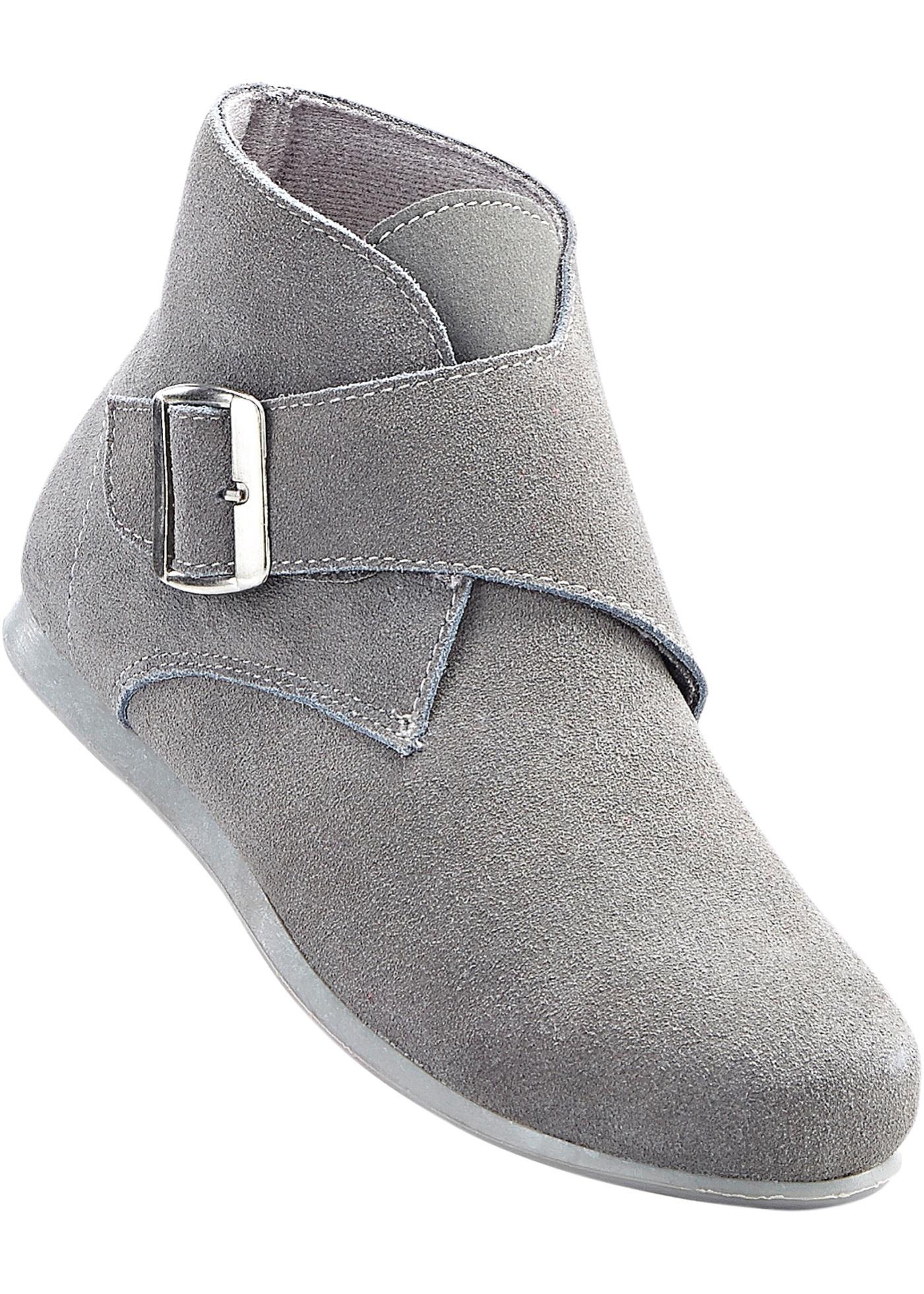 Kožená kotníčková obuv - Šedá