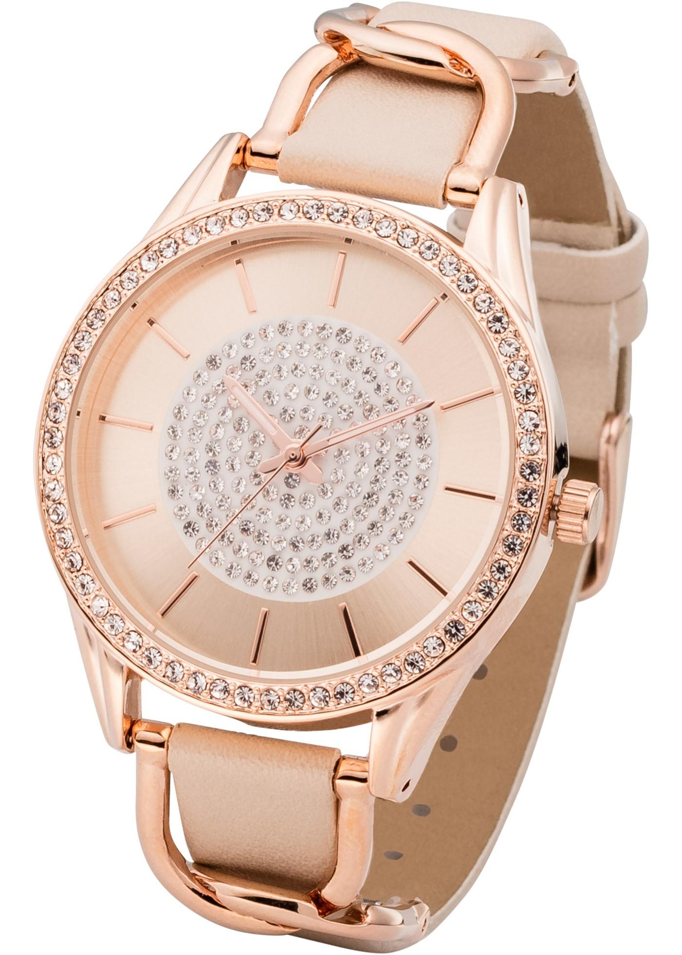 Náramkové hodinky s ozdobnými elementy - zlatá 819cb38cfe