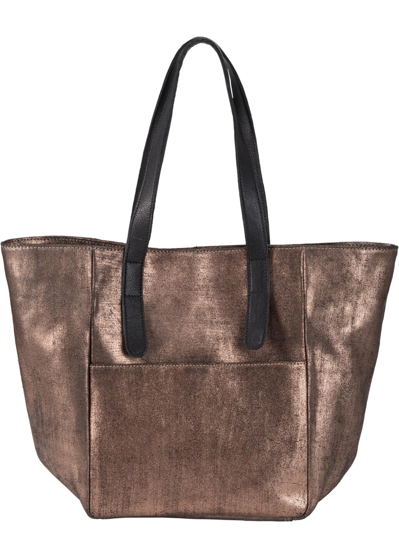 Kožená nákupní kabelka Metallic - Černá