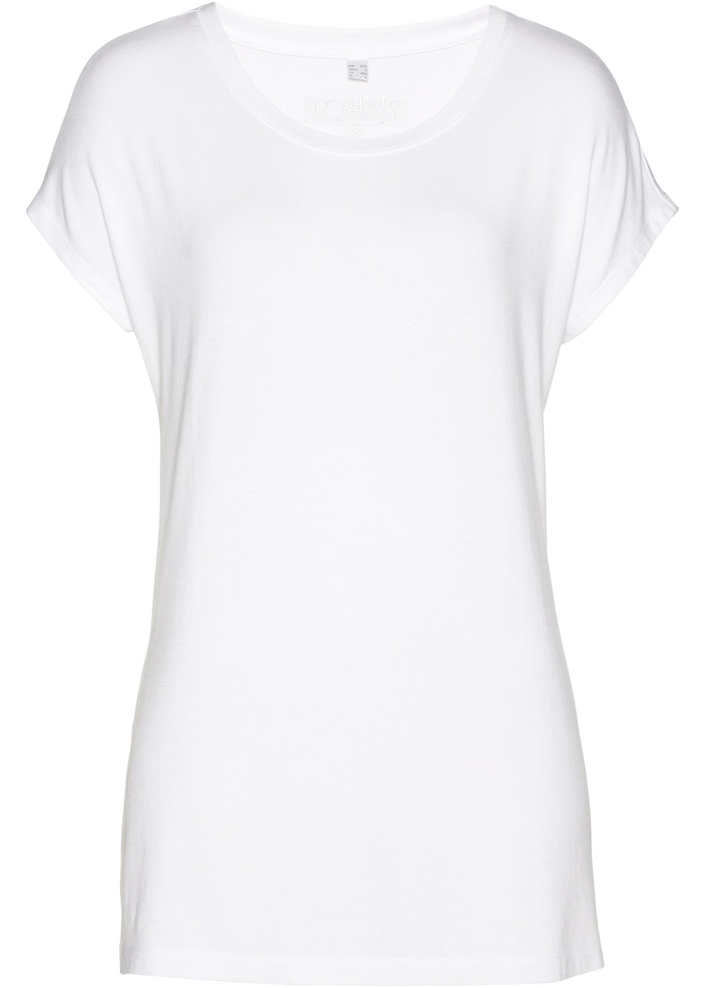 Dlouhé tričko z Modalu - Bílá