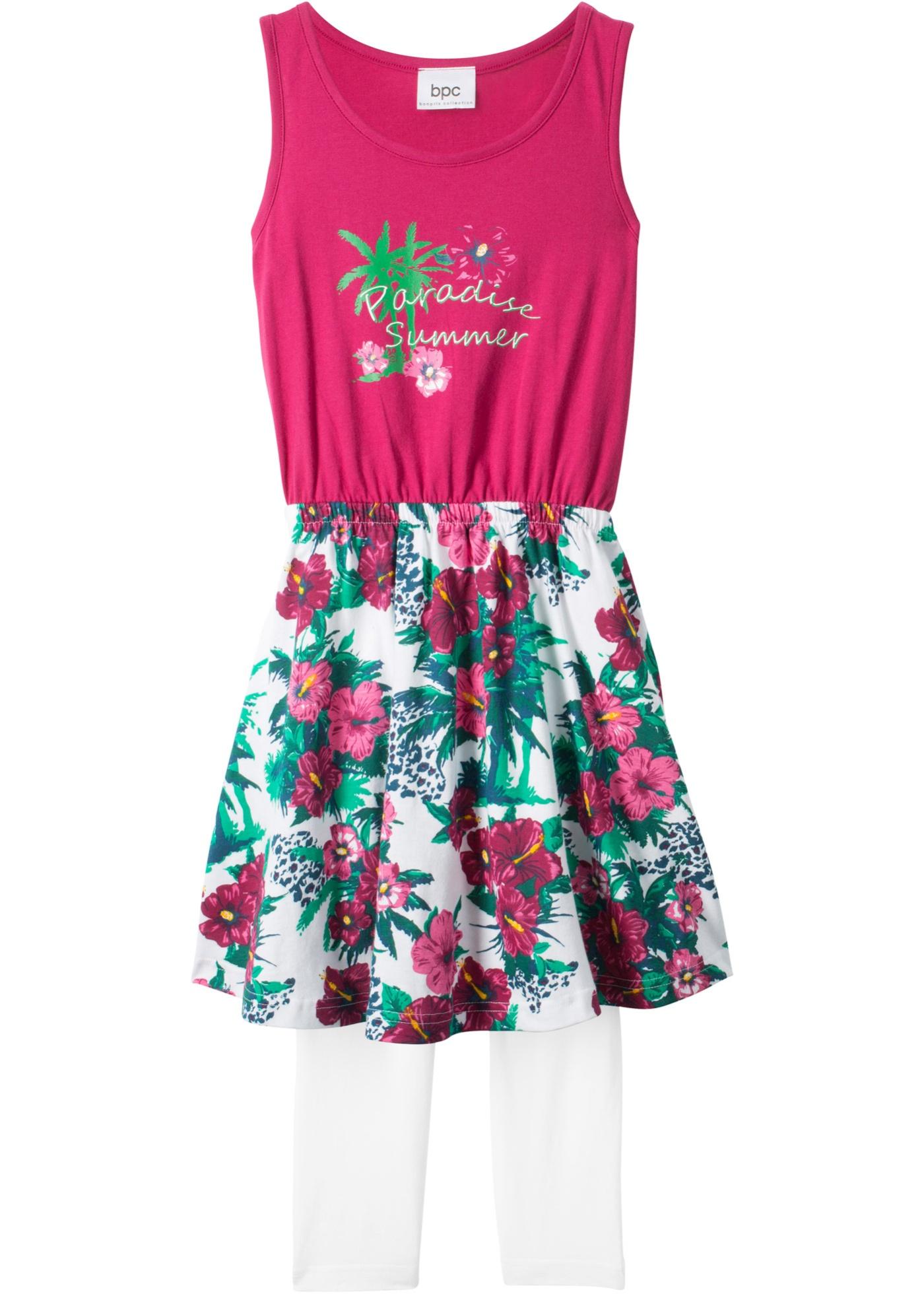 Šaty + 3 4 legíny (2dílná souprava) - Pink 26ff5132b8