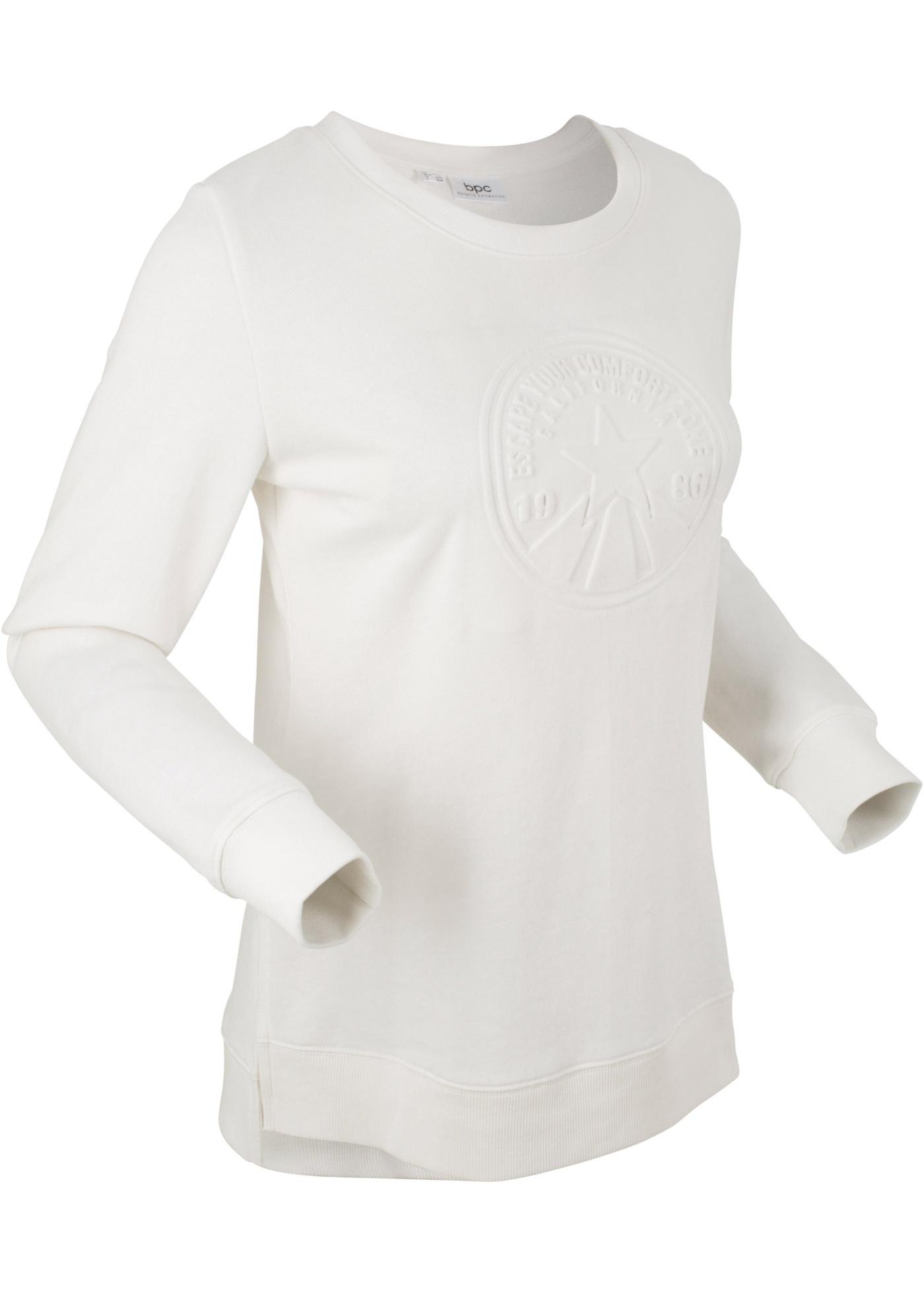 Mikina s raženým motivem, dlouhý rukáv - Bílá