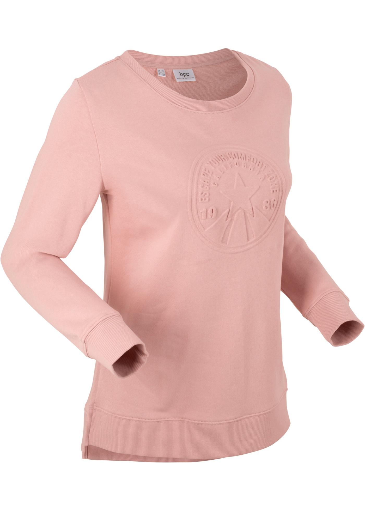 Mikina s raženým motivem, dlouhý rukáv - Růžová