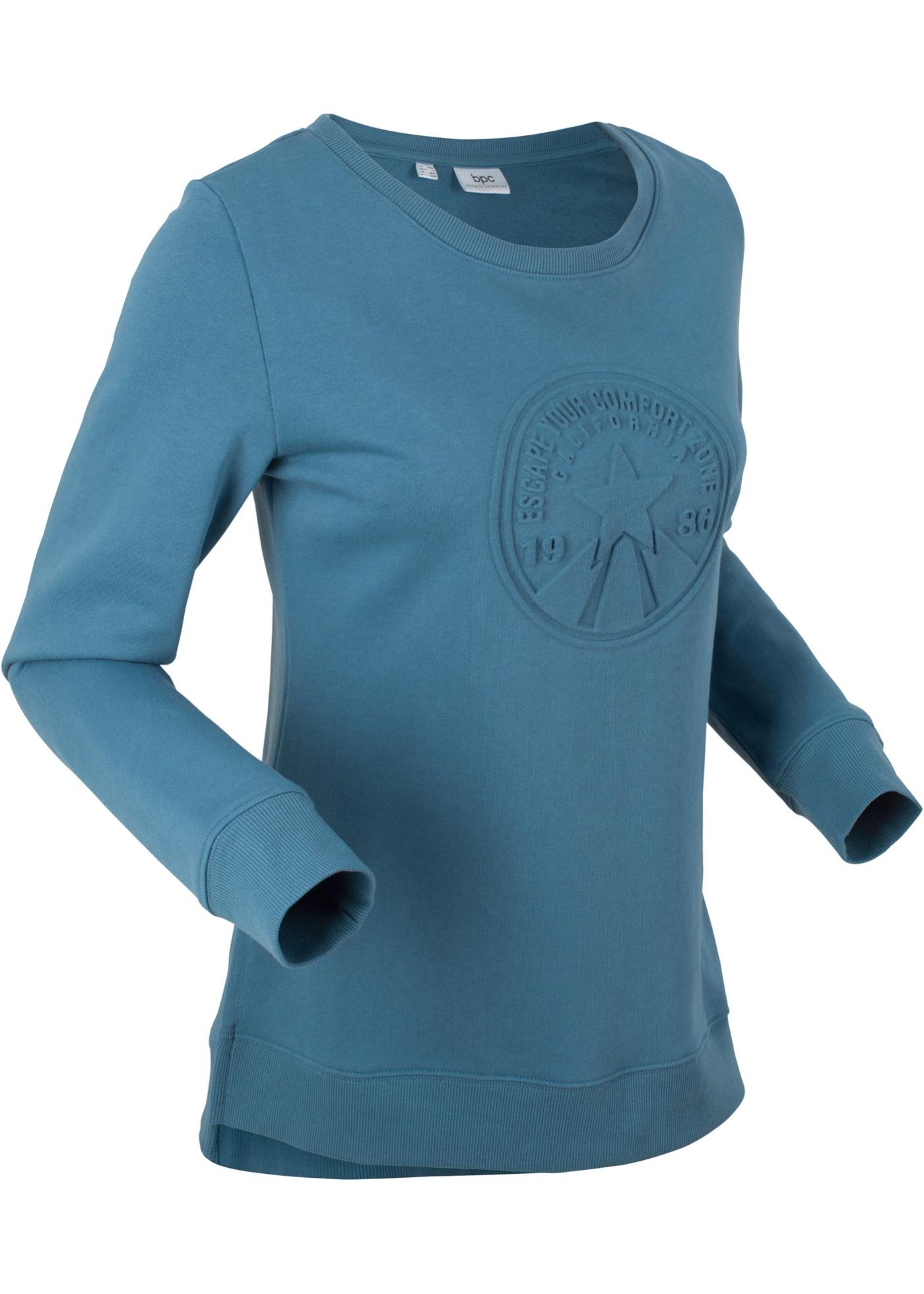 Mikina s raženým motivem, dlouhý rukáv - Modrá