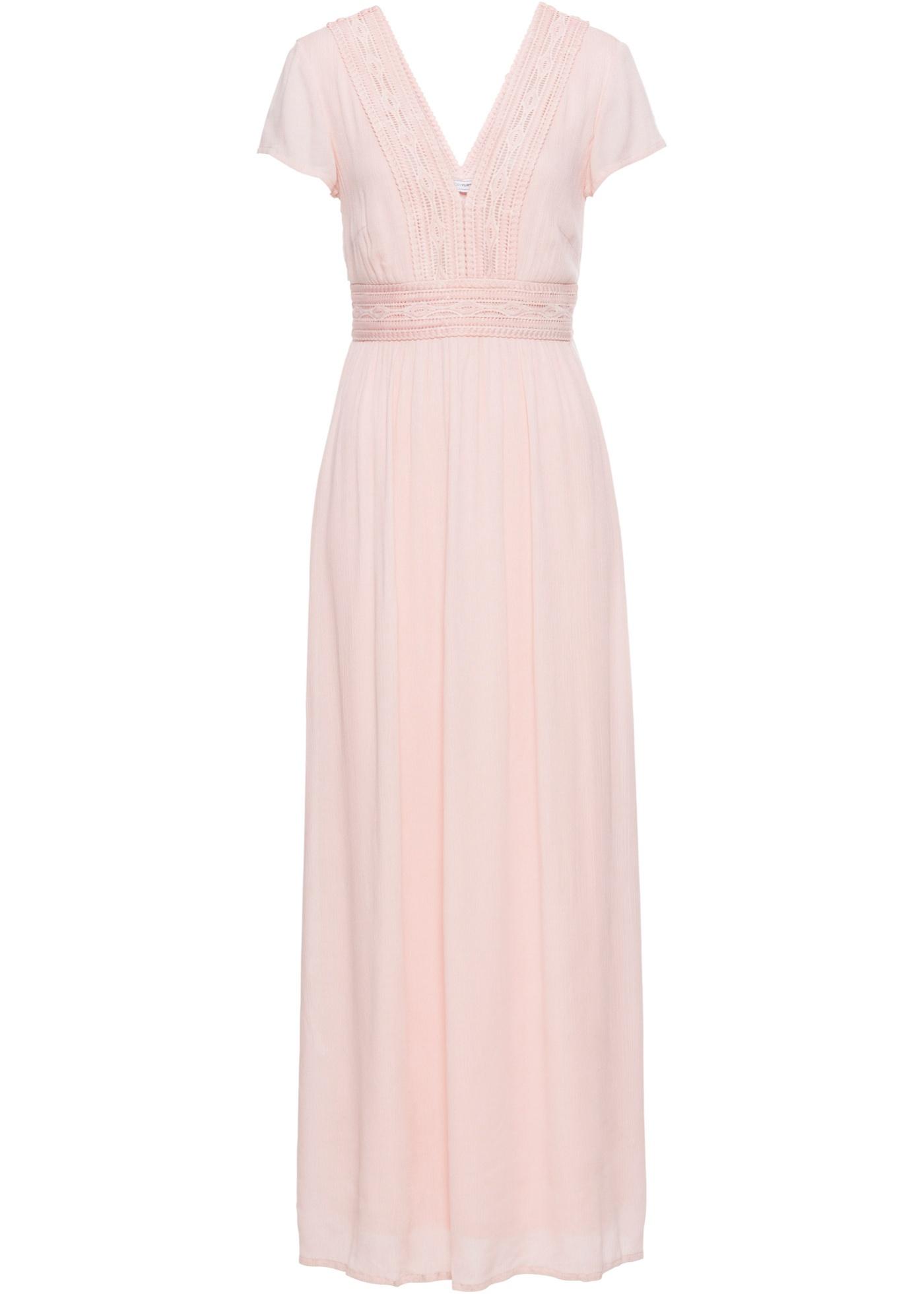 Levné Letní dlouhé šaty s krajkou | Růžová barva šatů