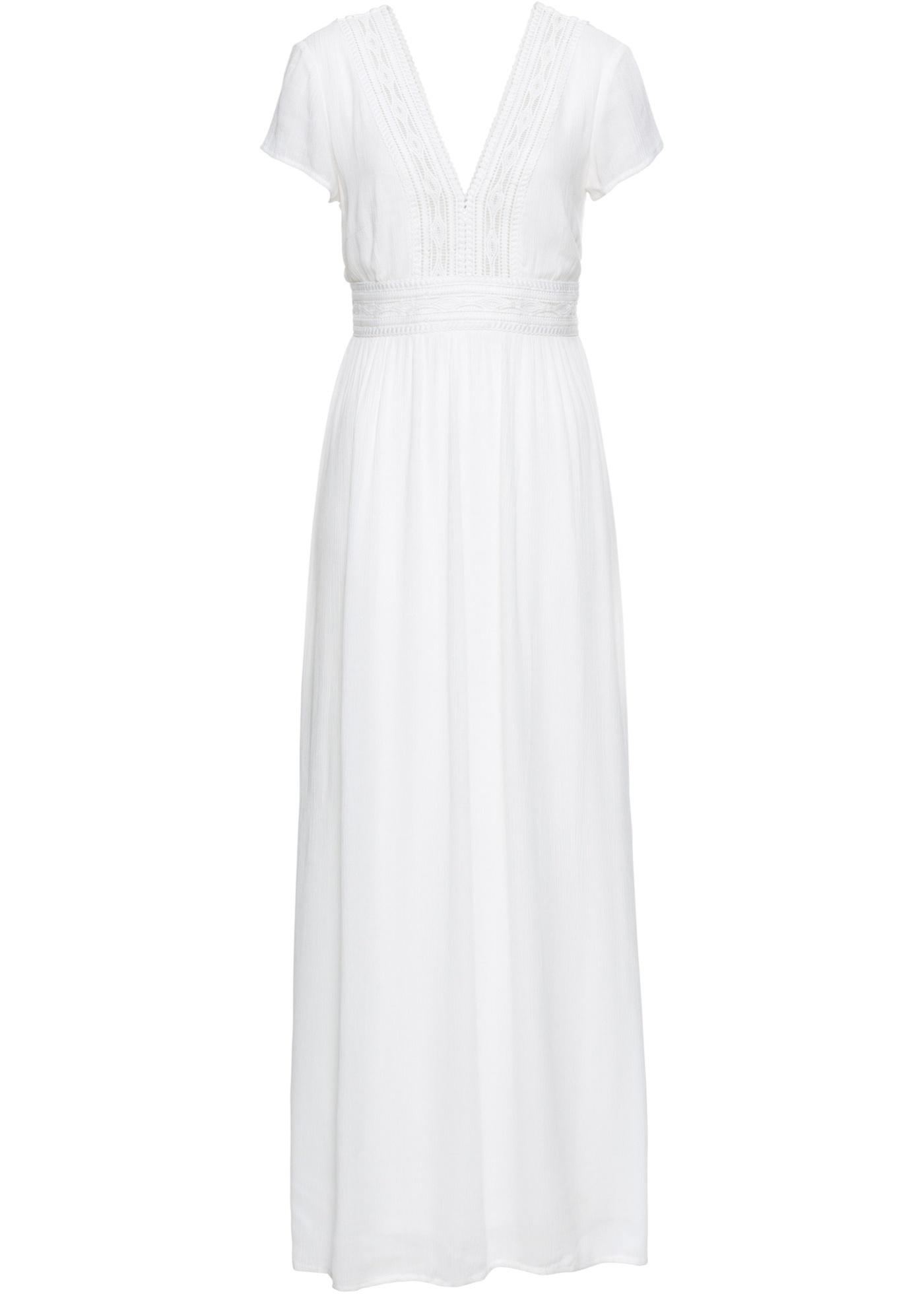 Levné Letní dlouhé šaty s krajkou | Bílá barva šatů