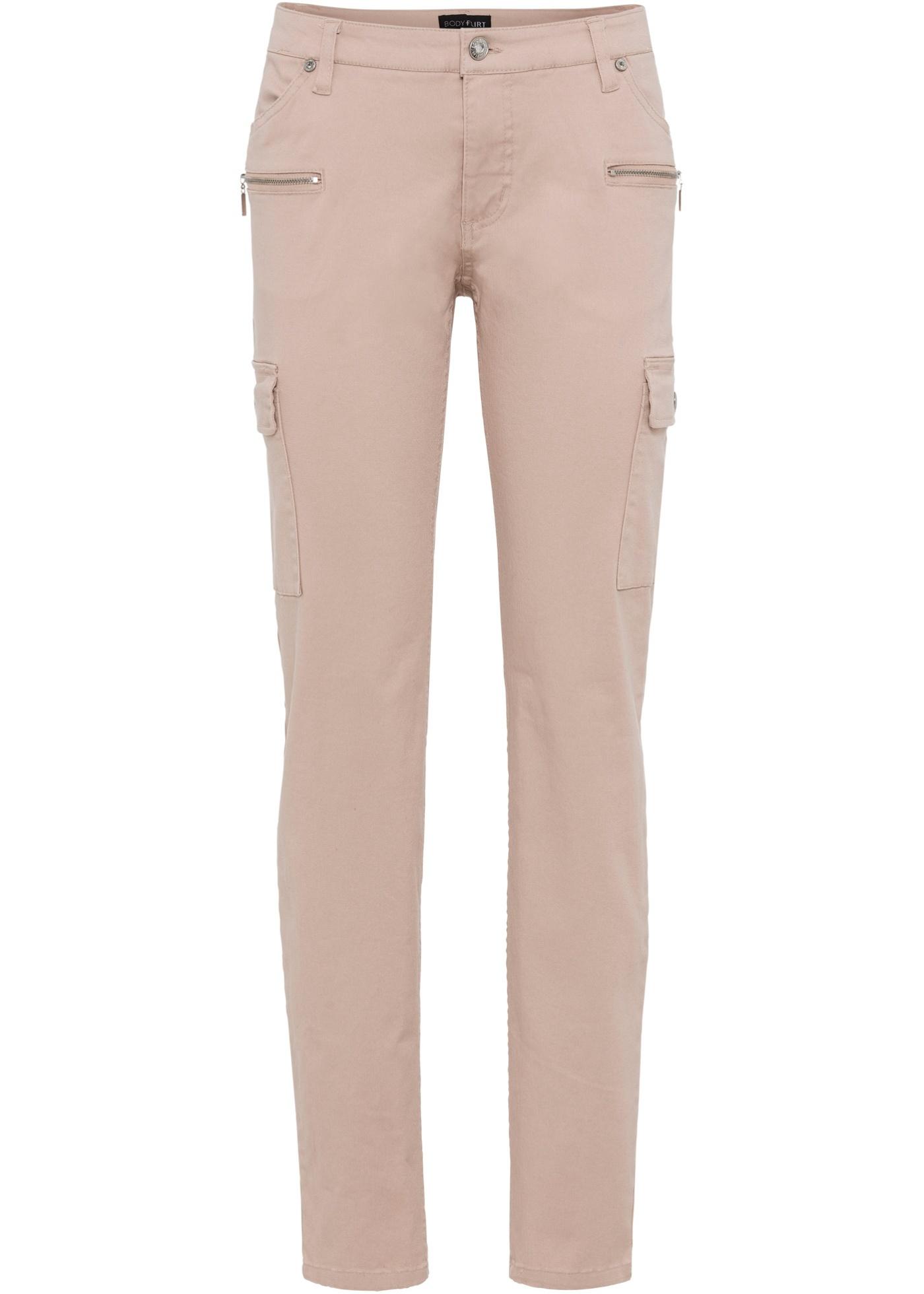 Strečové kargo kalhoty - Růžová