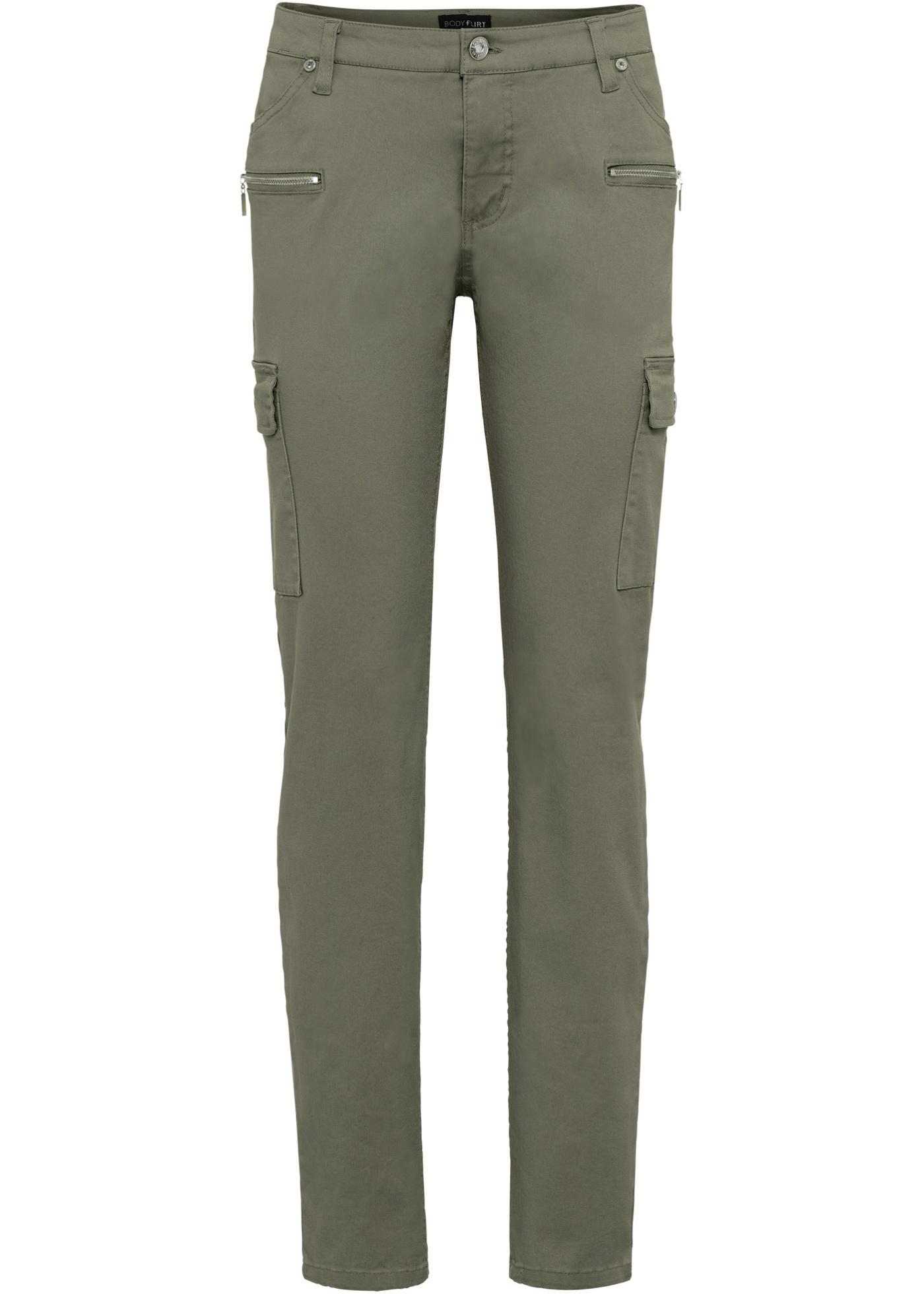 Strečové kargo kalhoty - Zelená