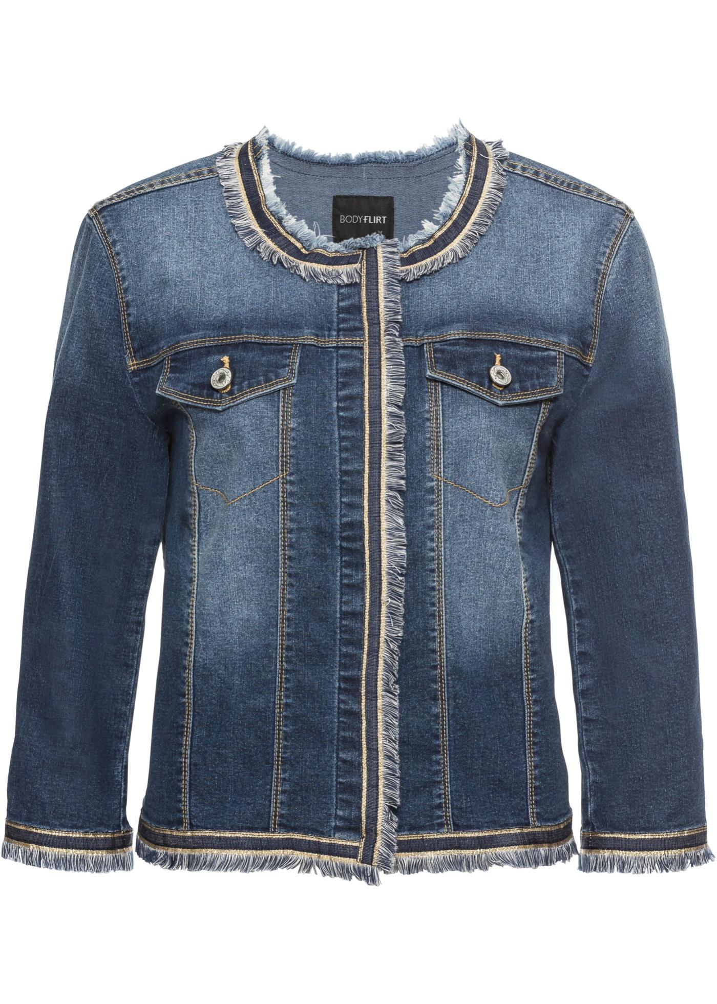 Džínová bunda s třásněmi - Modrá