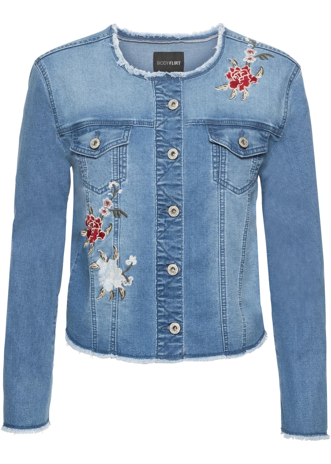 Džínová bunda s květinovou výšivkou - Modrá