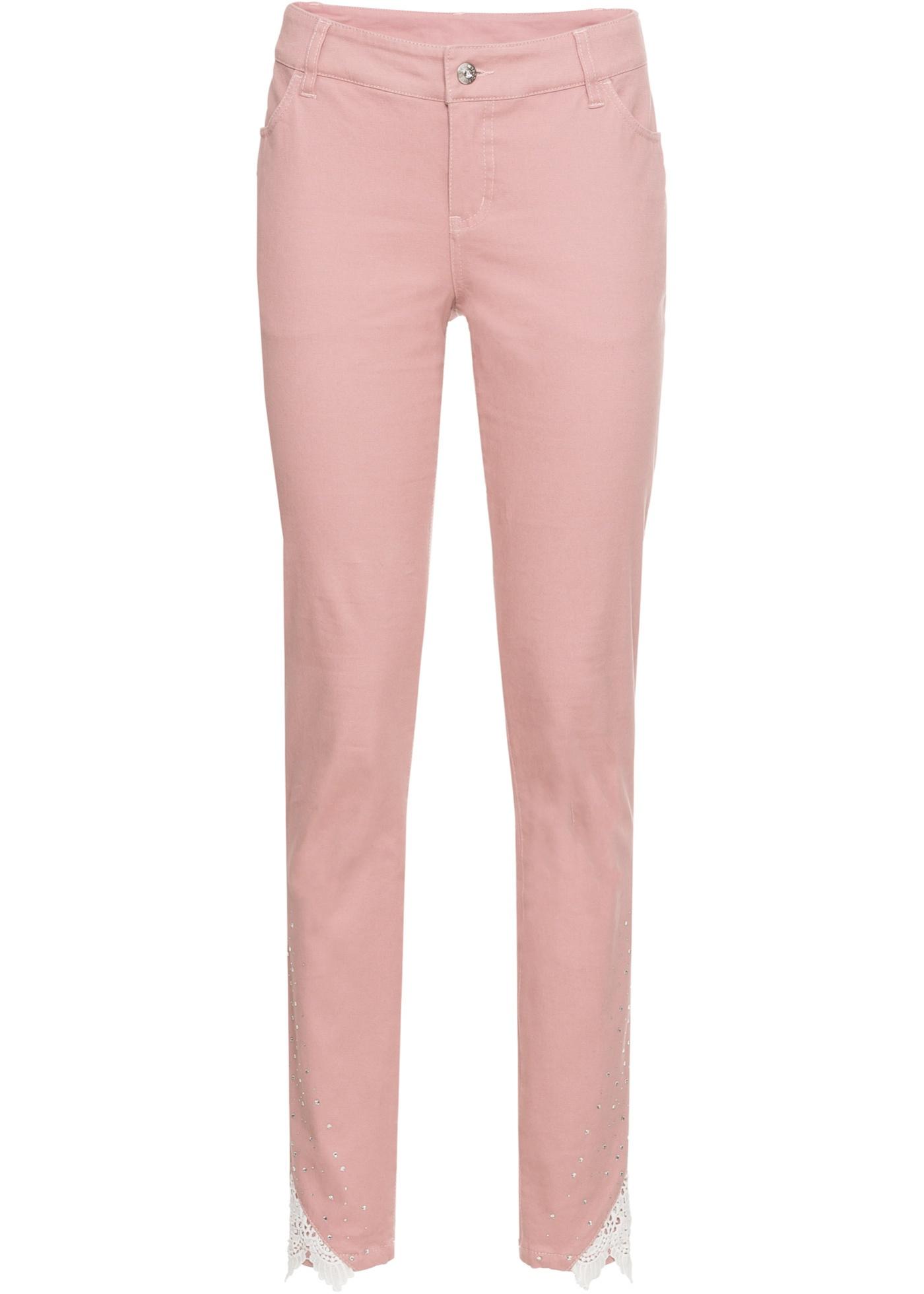7 8 strečové kalhoty s krajkou - Růžová a9a419449a