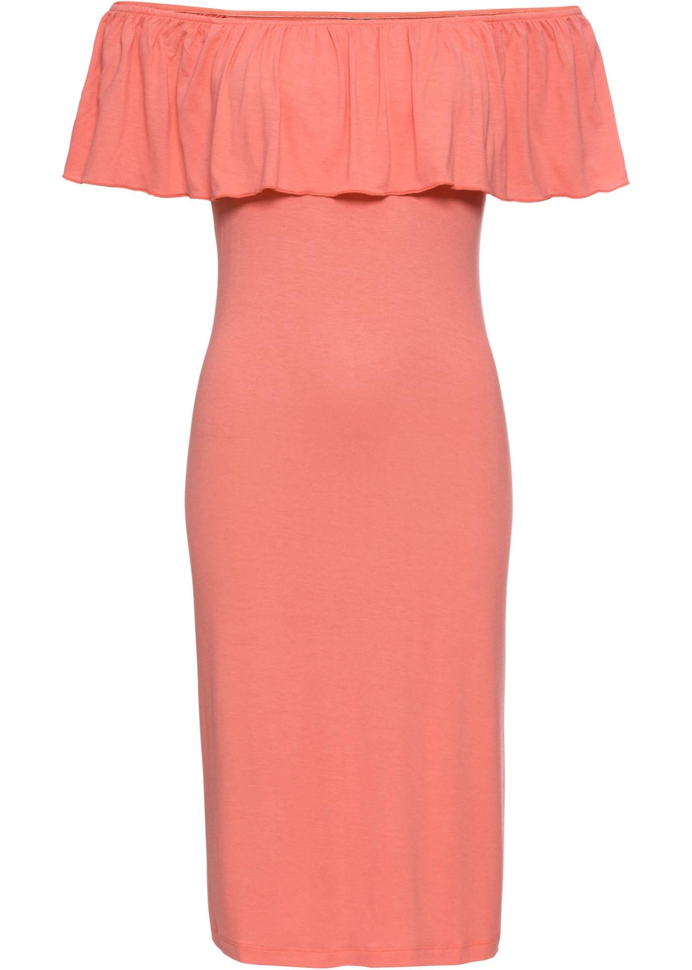 Letní žerzejové šaty s výstřihem Carmen - Pink b3ddb1fdb9