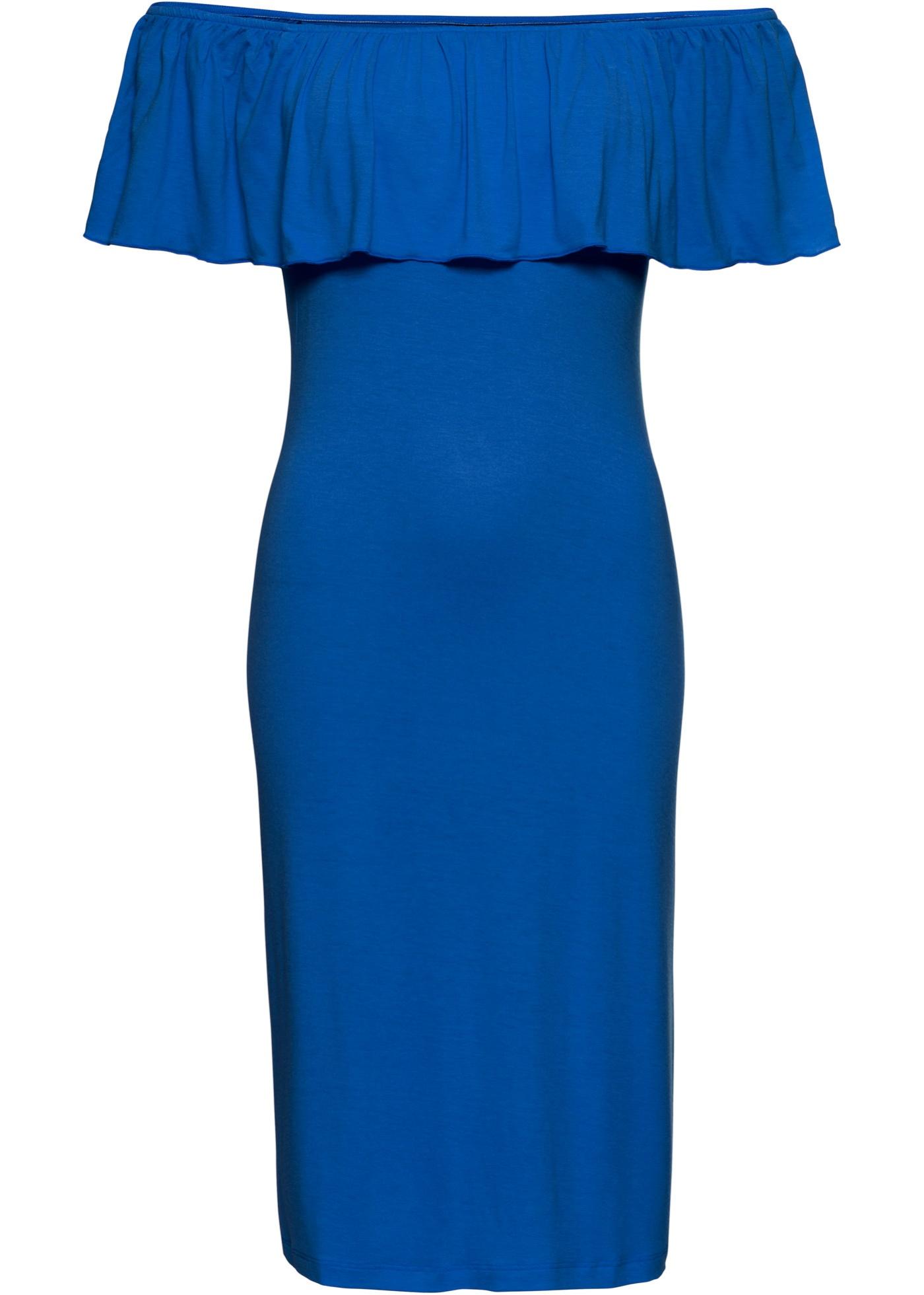 Letní žerzejové šaty s výstřihem Carmen - Modrá 6f6be4808a