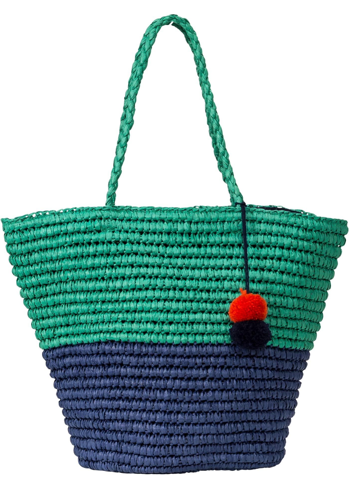 Plážová taška s bambulí - Modrá ad380bc83fe