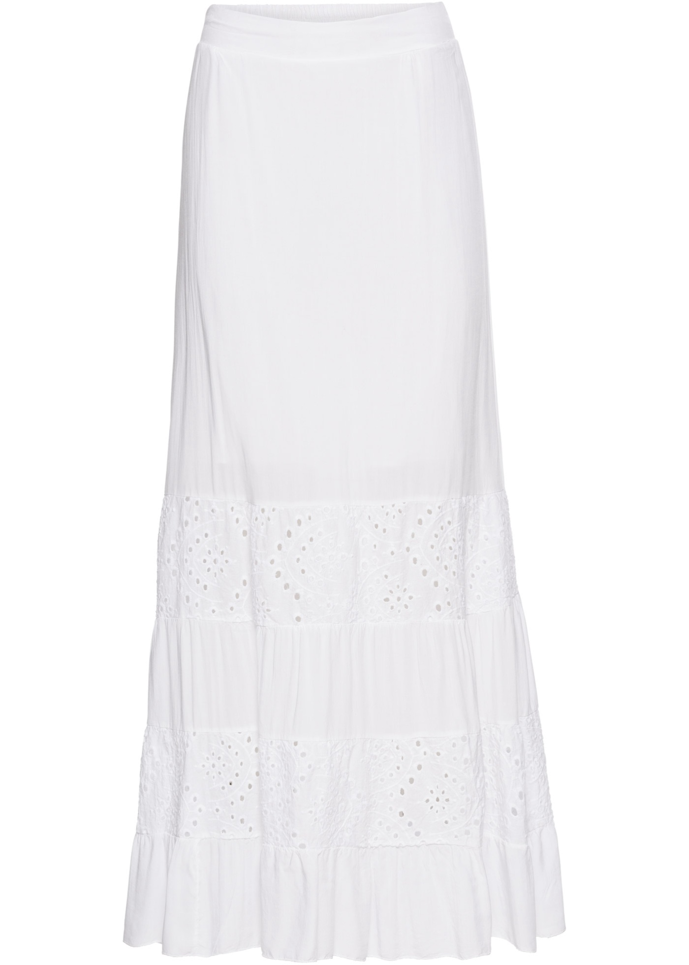 0de16b20720 Dlouhá sukně s krajkovými vsadkami - Bílá