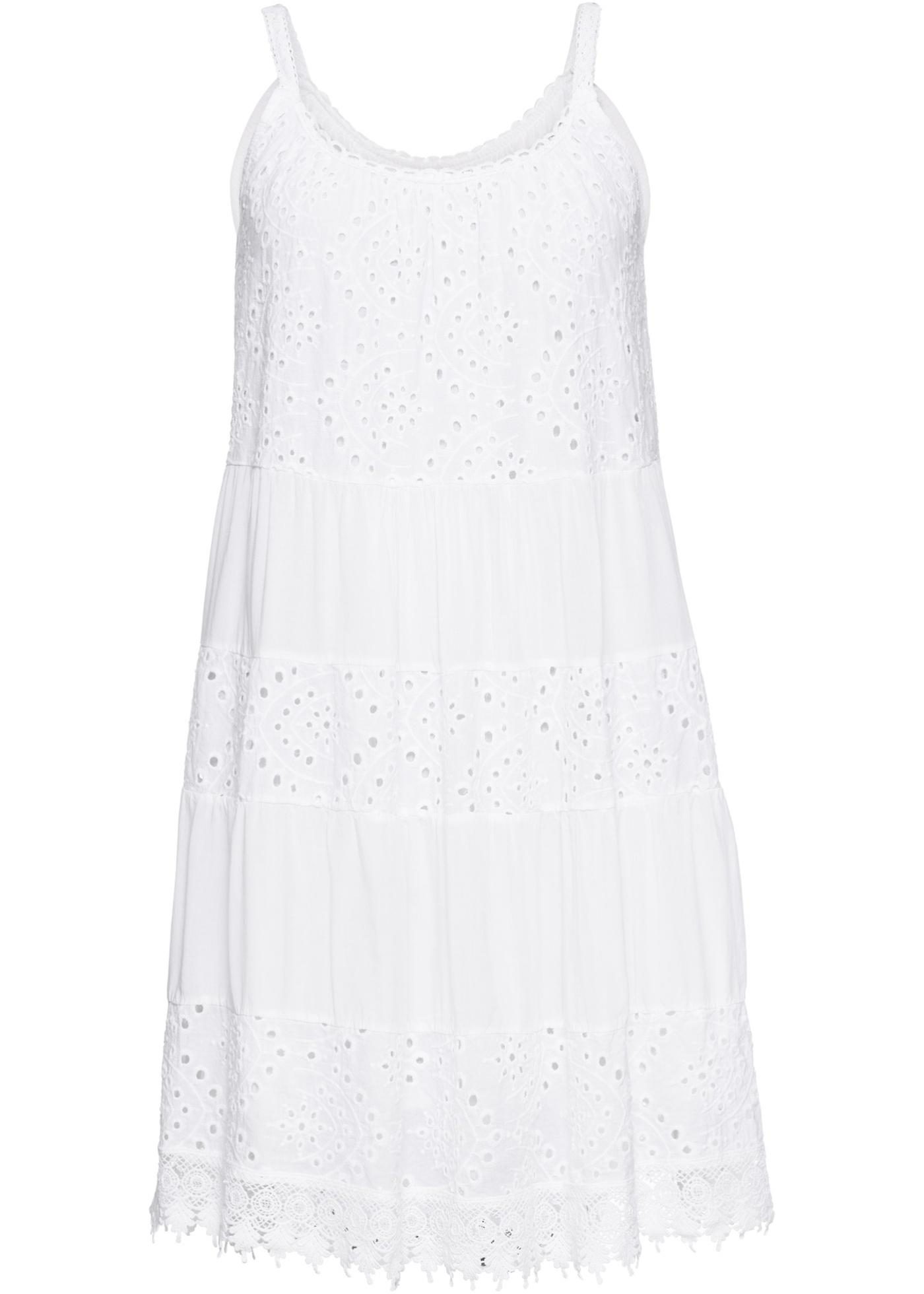 Letní šaty s krajkou - Bílá ea490a539e