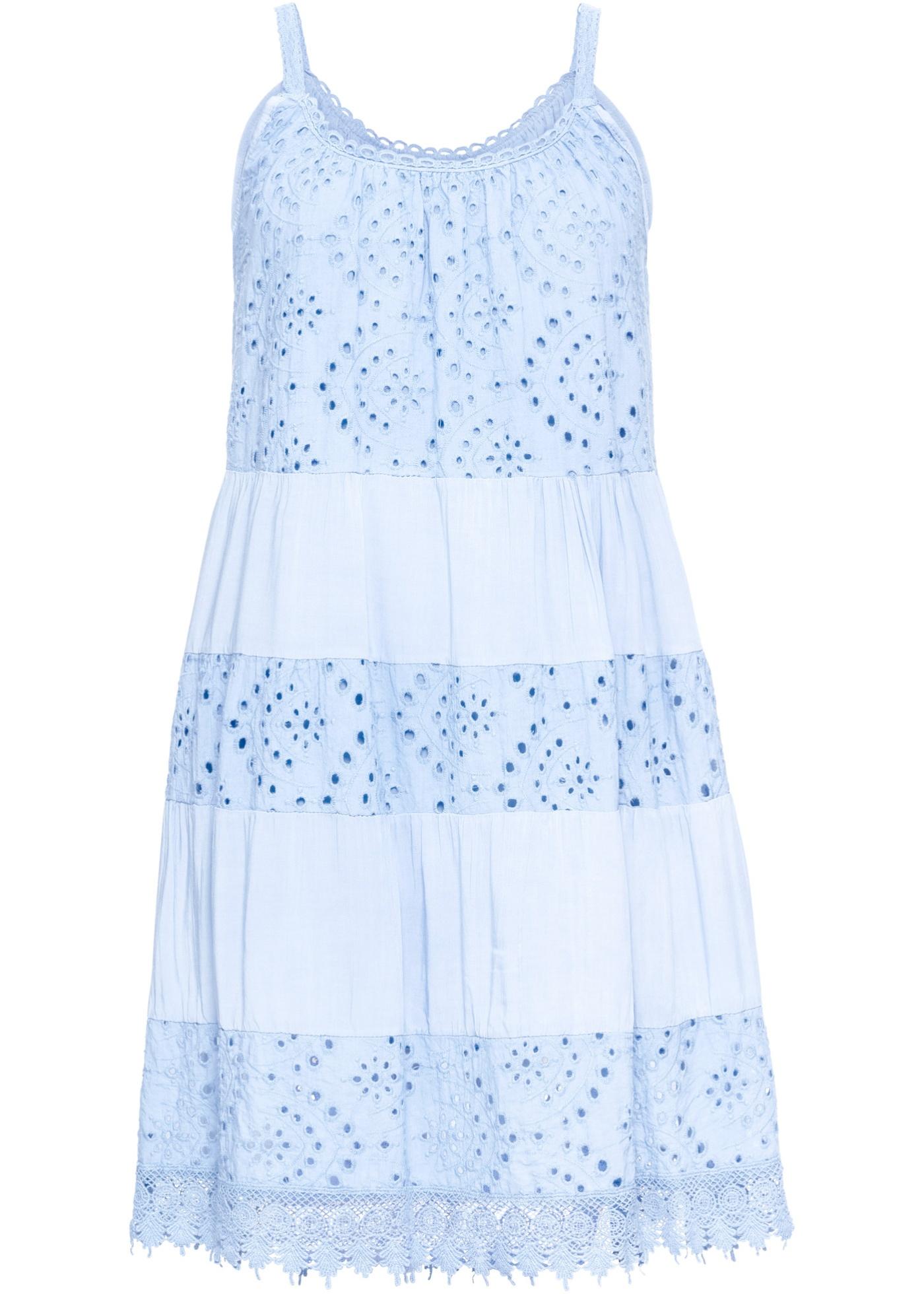 0fd7cacec90d Letní šaty s krajkou - Modrá