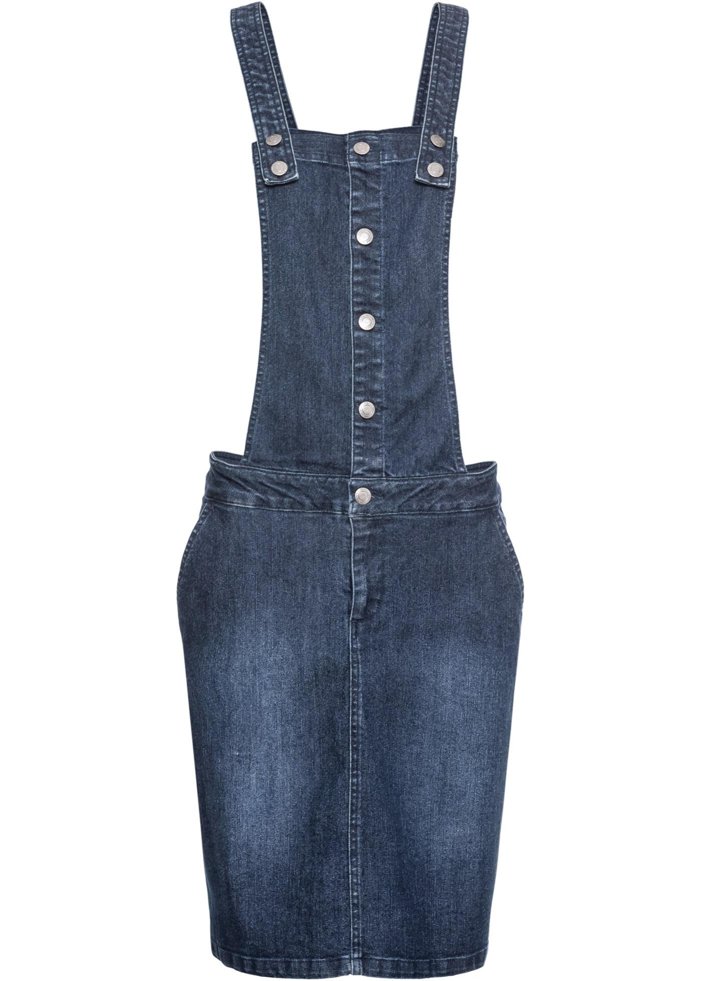 f408355ba225 Strečové džínové šaty s laclem - Modrá