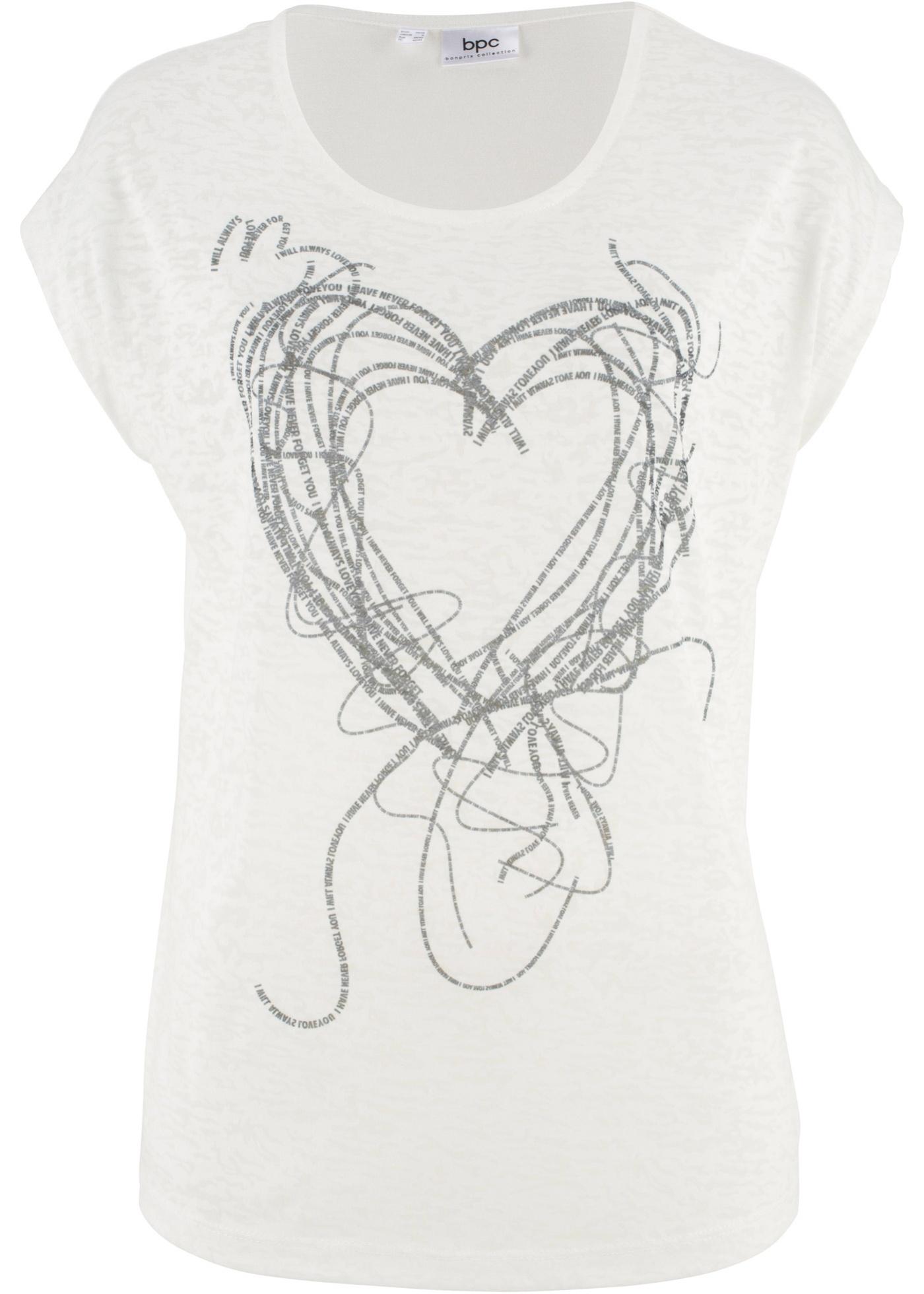Tričko s potiskem srdce - Bílá f78504c613