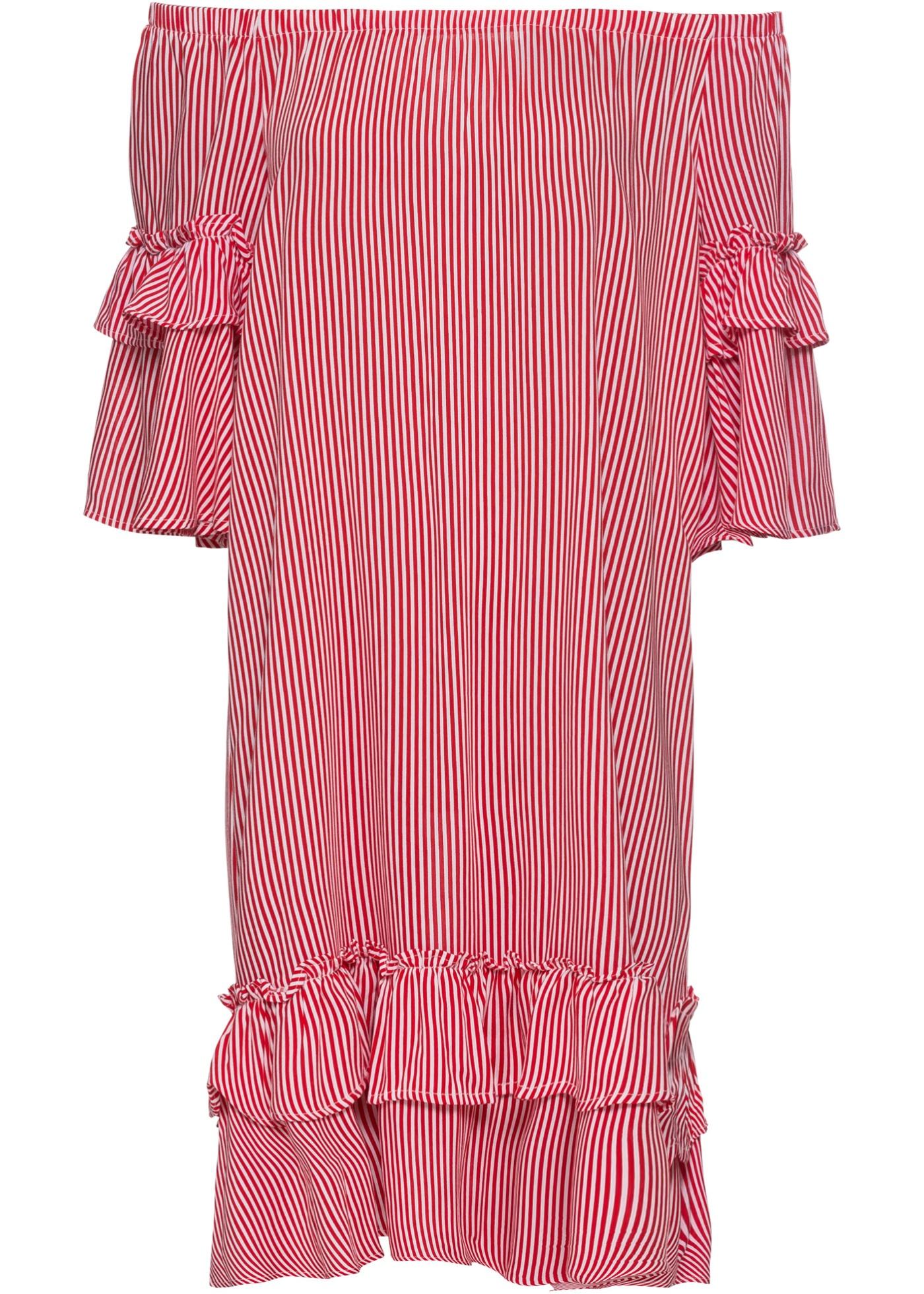 Šaty s výstřihem Carmen - Červená 69c2963c84