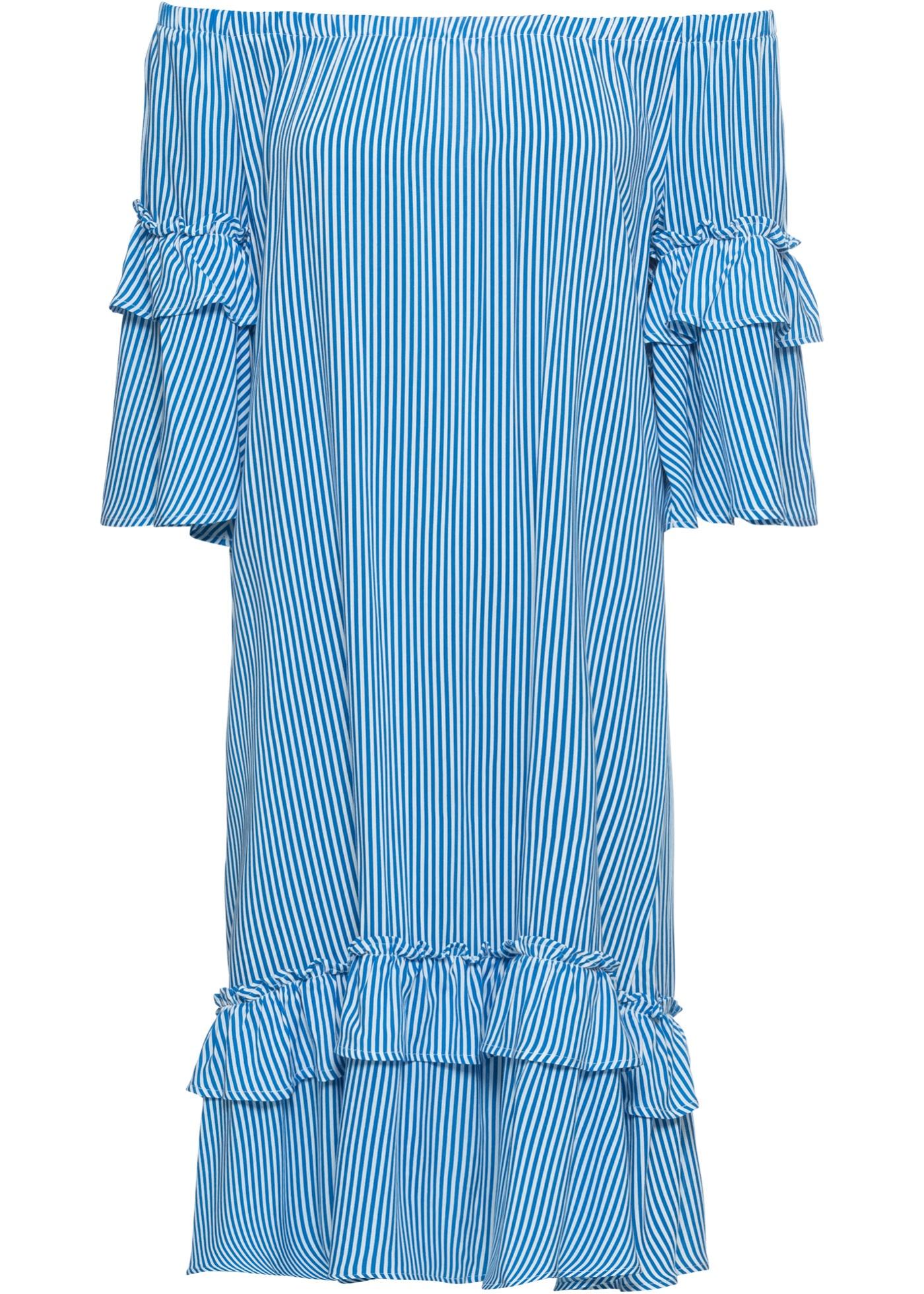 Šaty s výstřihem Carmen - Modrá 9a449a8878