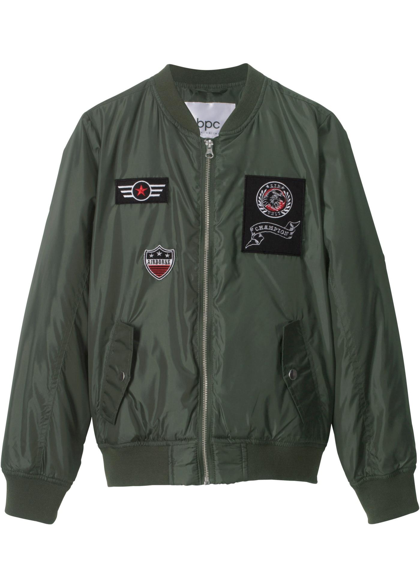 Letecká bunda s nášivkami - Zelená