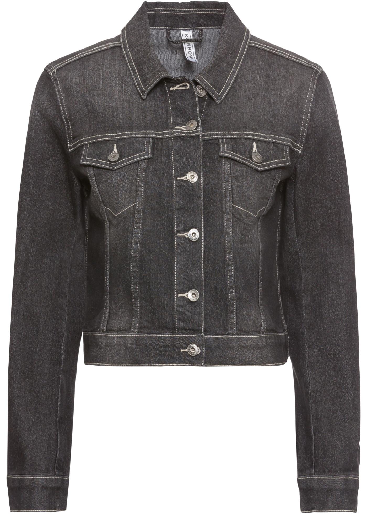 Džínová bunda s ozdobou - Černá