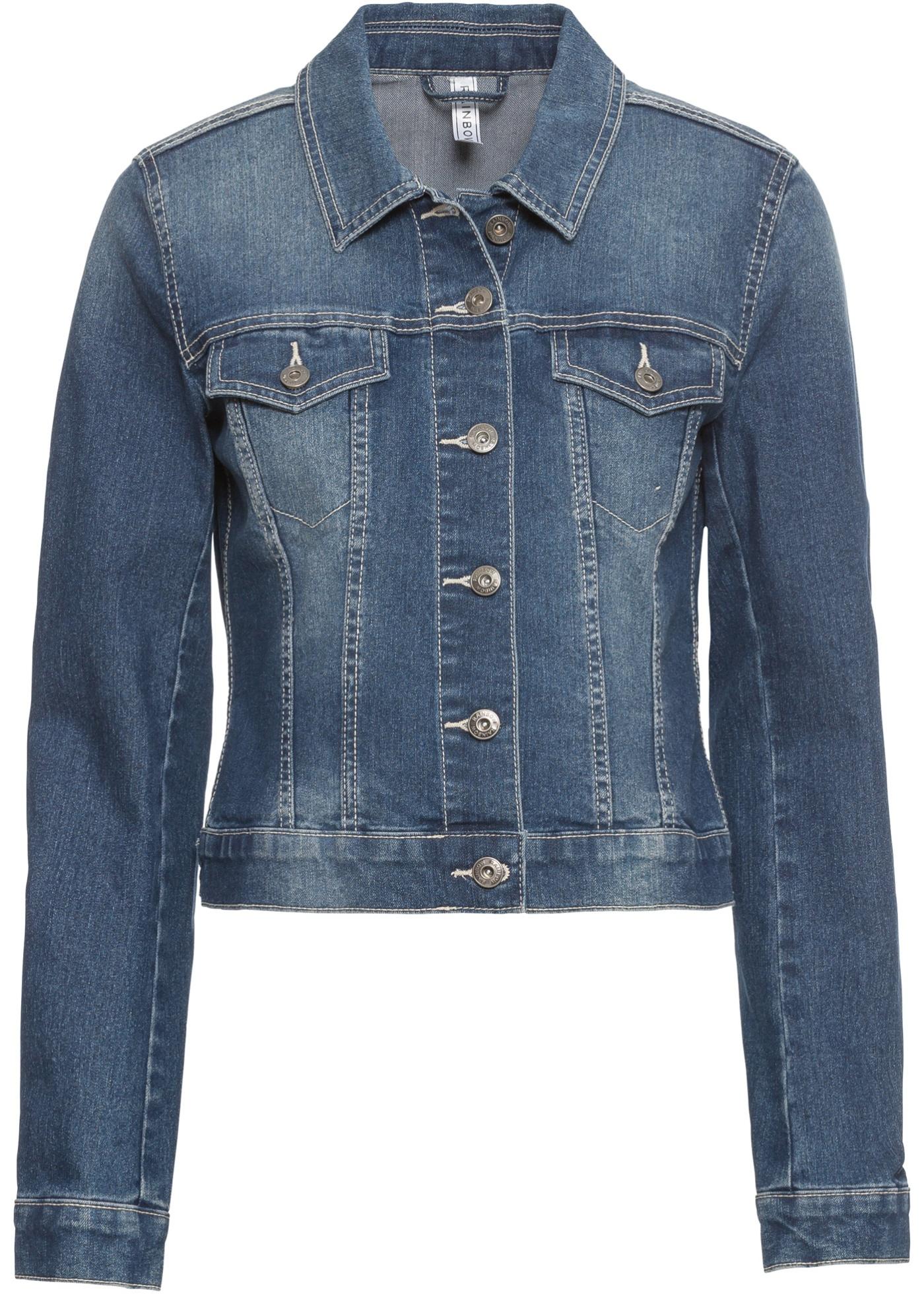 Džínová bunda s ozdobou - Modrá