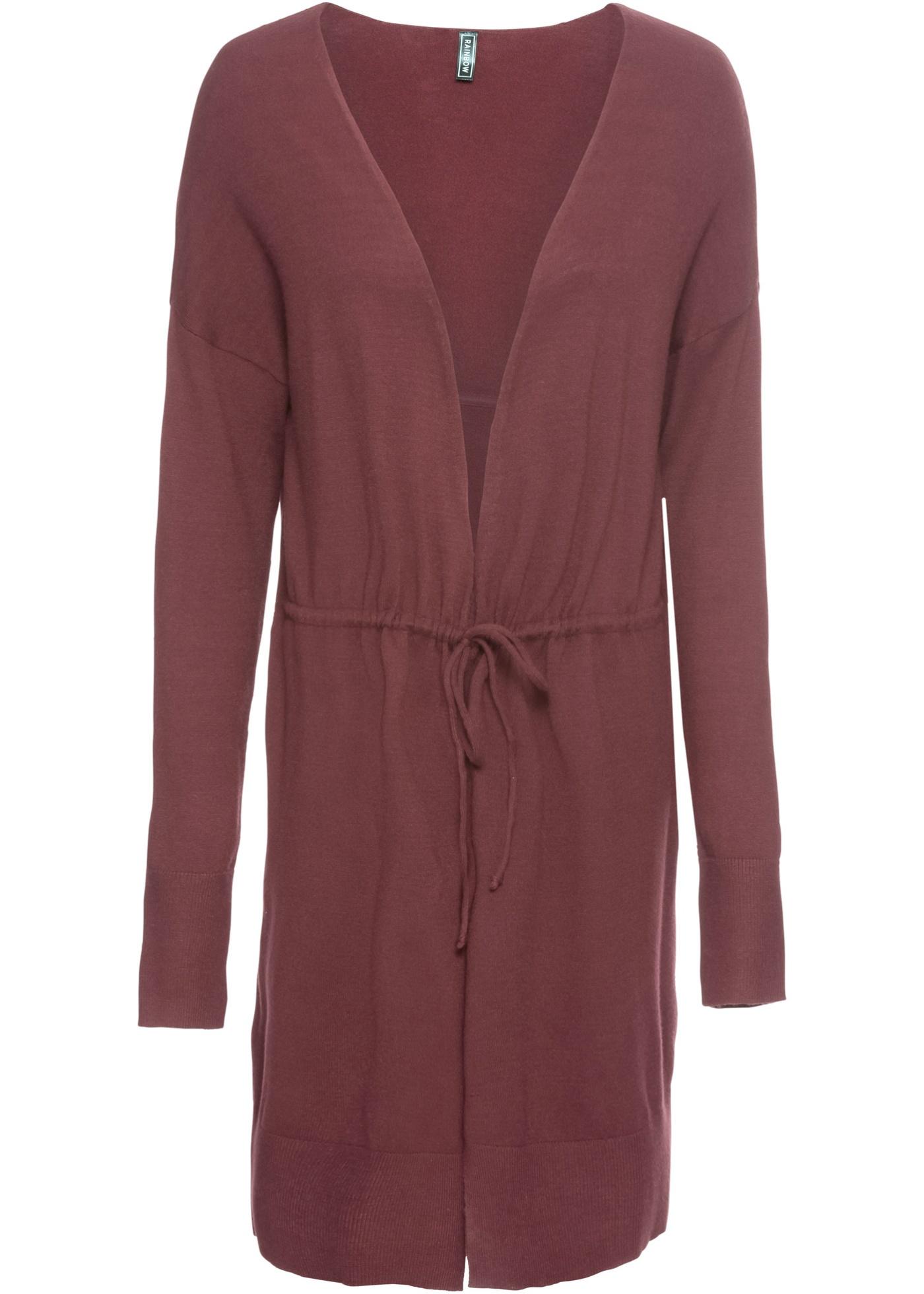 Dlouhý pletený kabátek s páskem - Červená