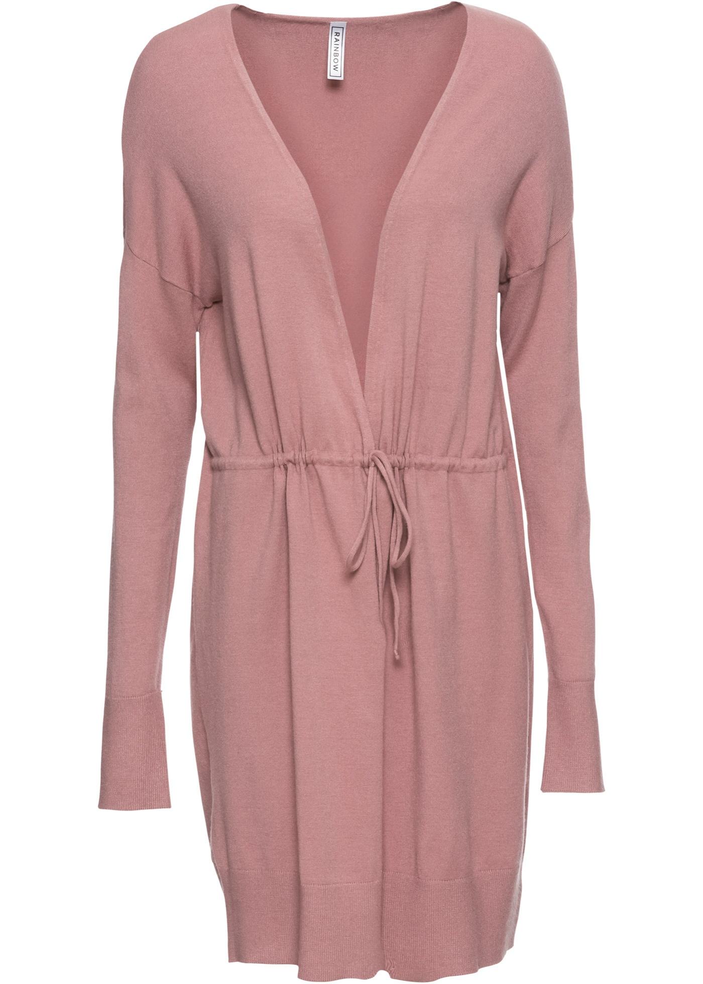 Dlouhý pletený kabátek s páskem - Růžová