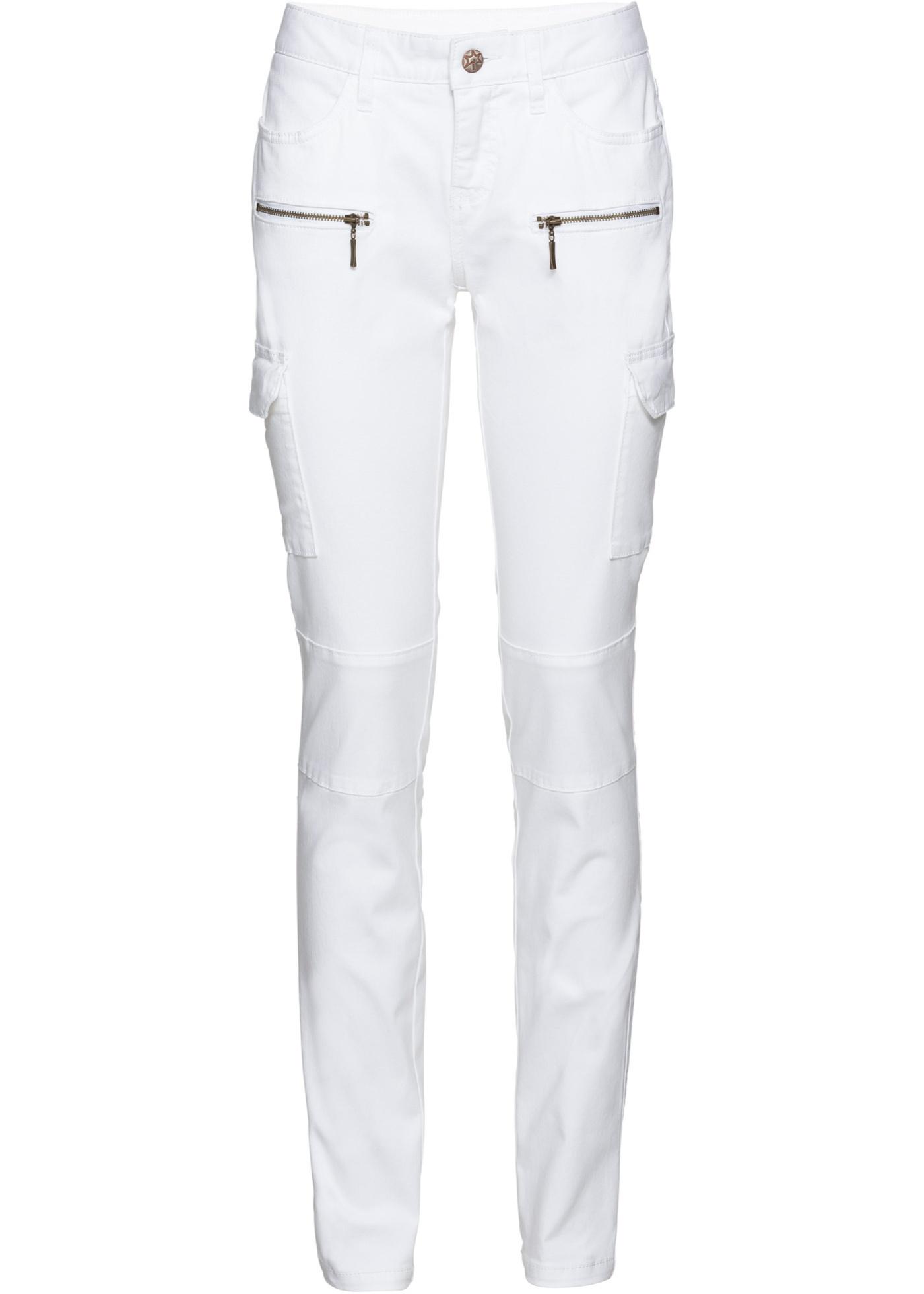 Kargo kalhoty, Skinny - Bílá
