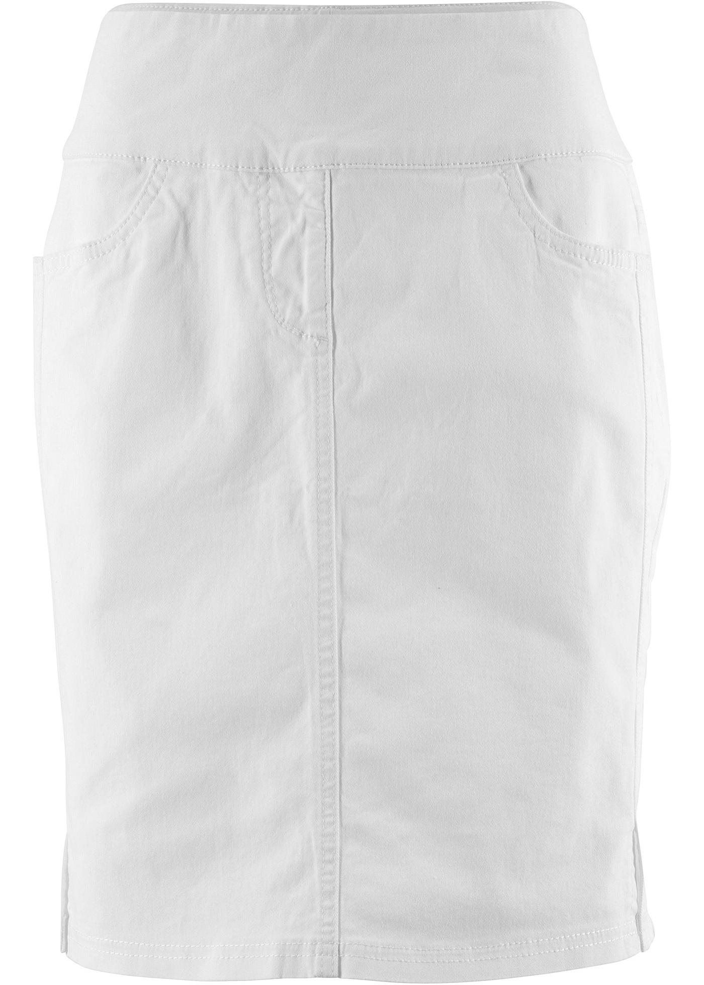 Strečová sukně s vysokým pasem - Bílá 19e66df9f1