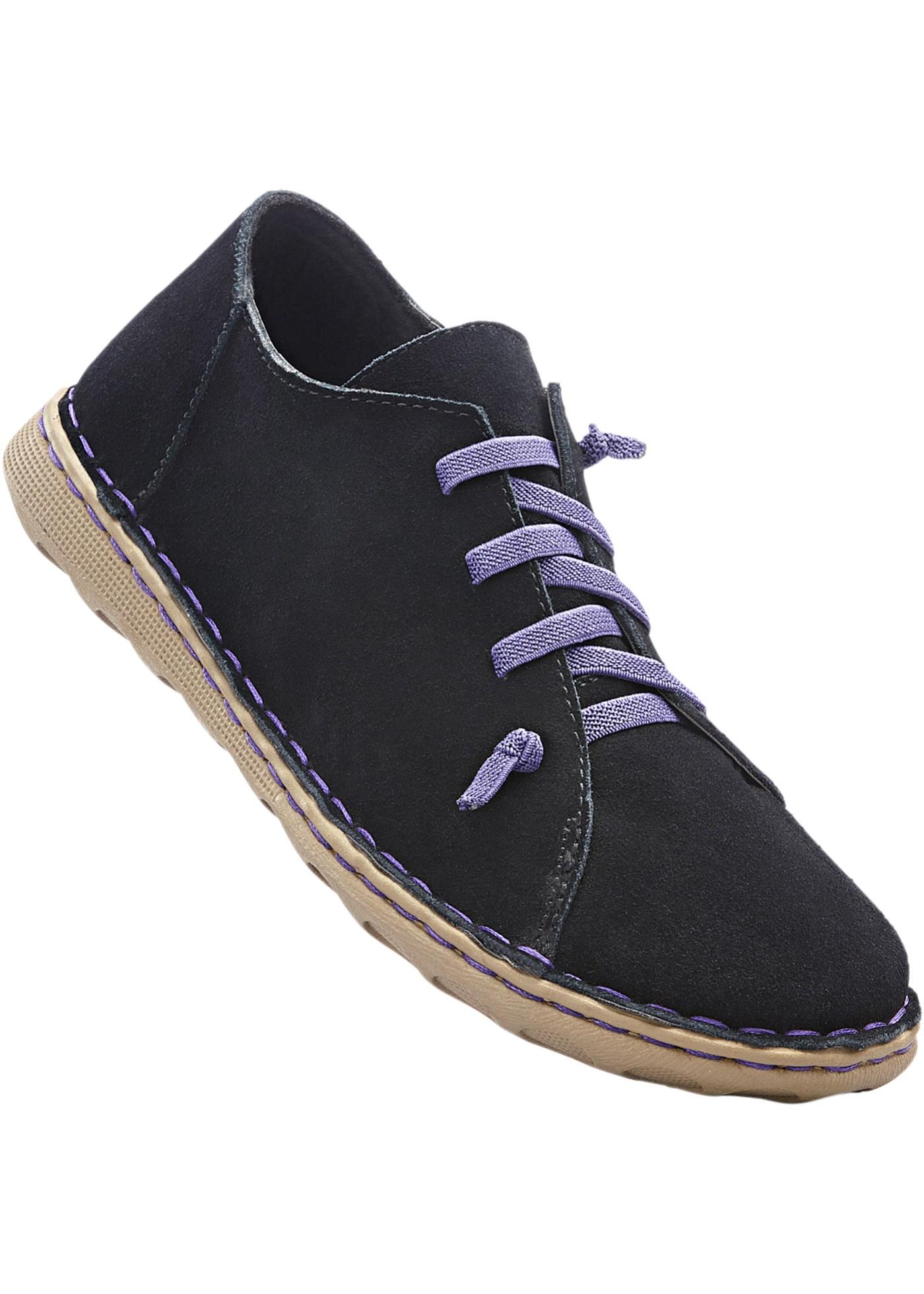 Pohodlná kožená obuv na šněrování - Černá