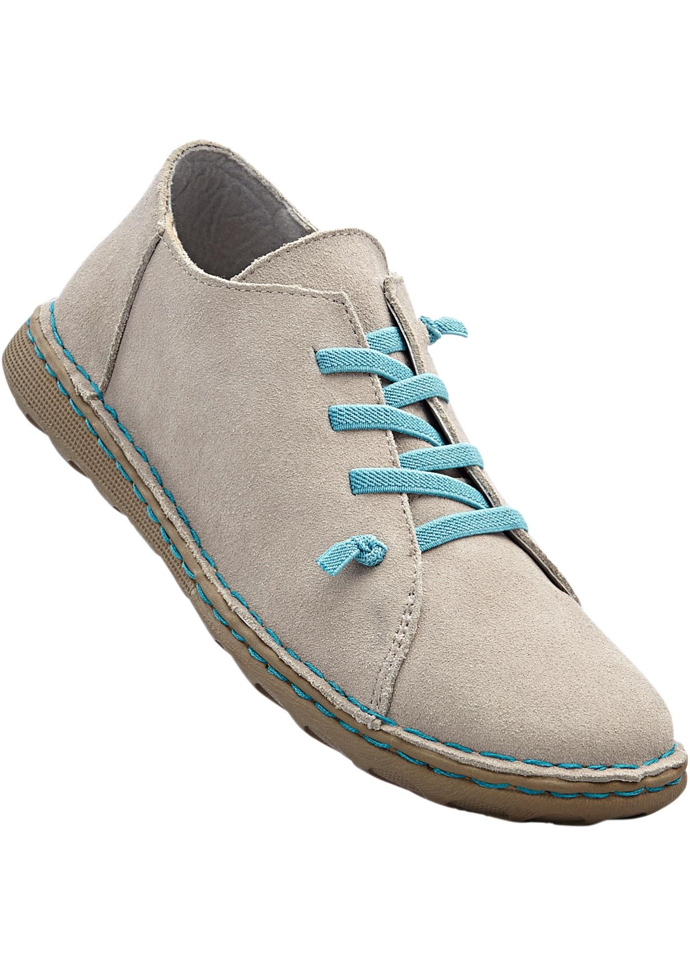 Pohodlná kožená obuv na šněrování - Šedá