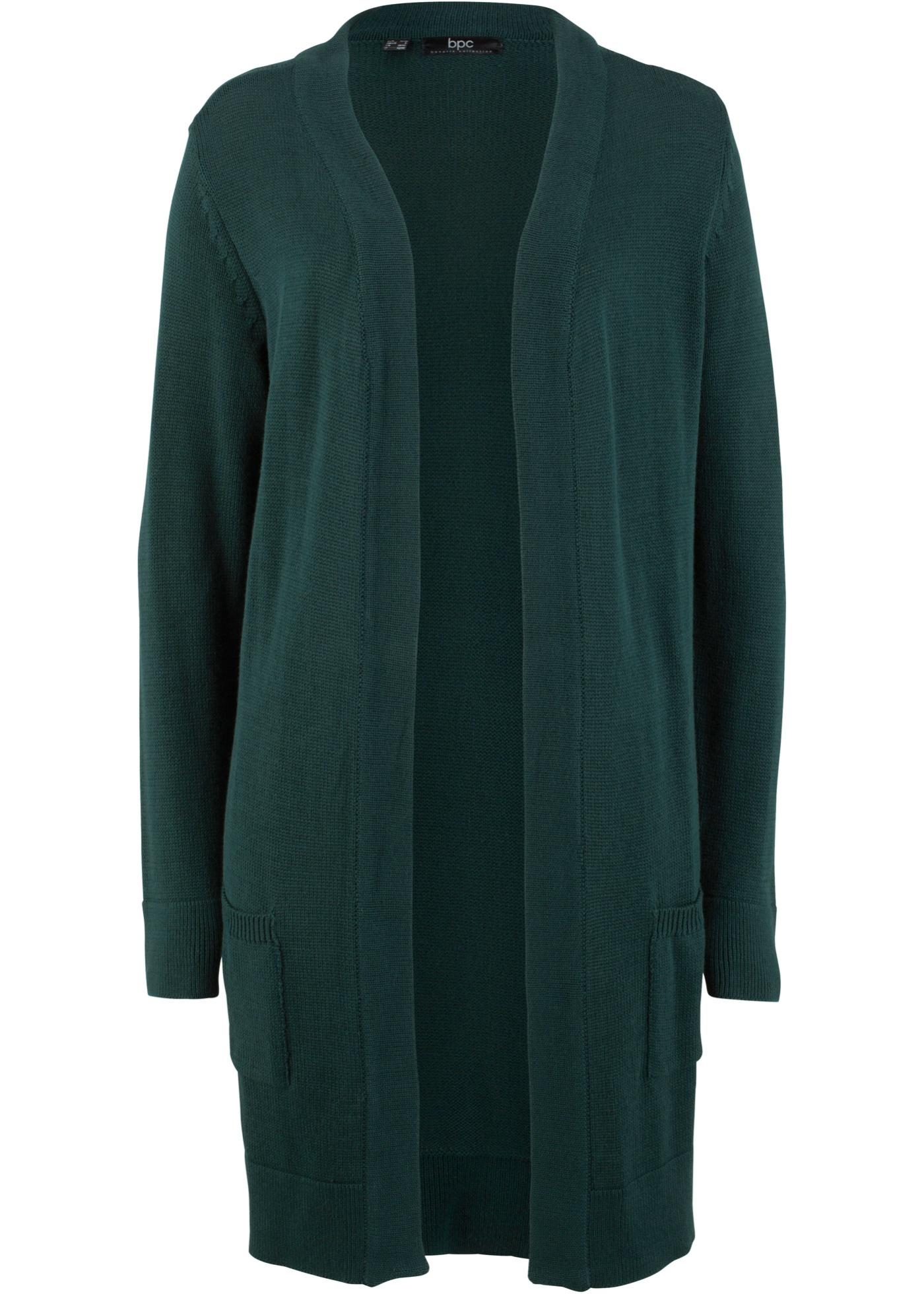 Dlouhý pletený kabátek, dlouhý rukáv - Zelená