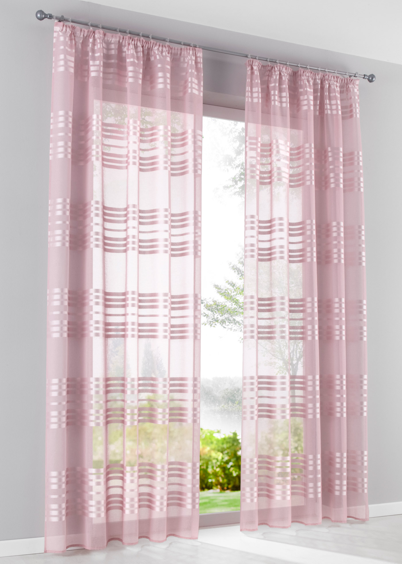 Záclona Len (1 ks) - Růžová