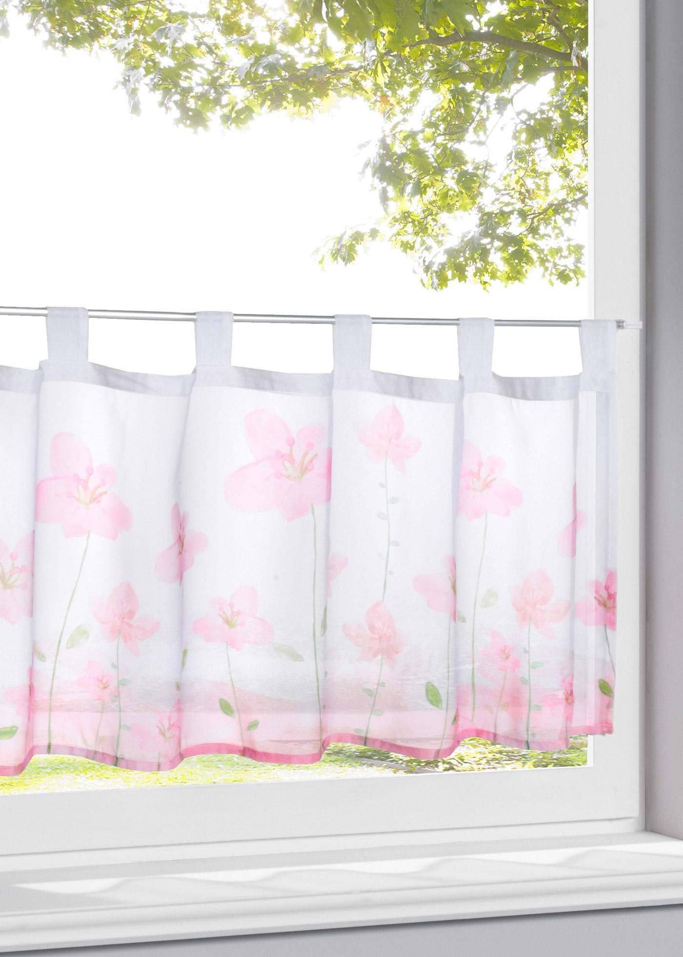 Vitrážková záclona Betula - Růžová