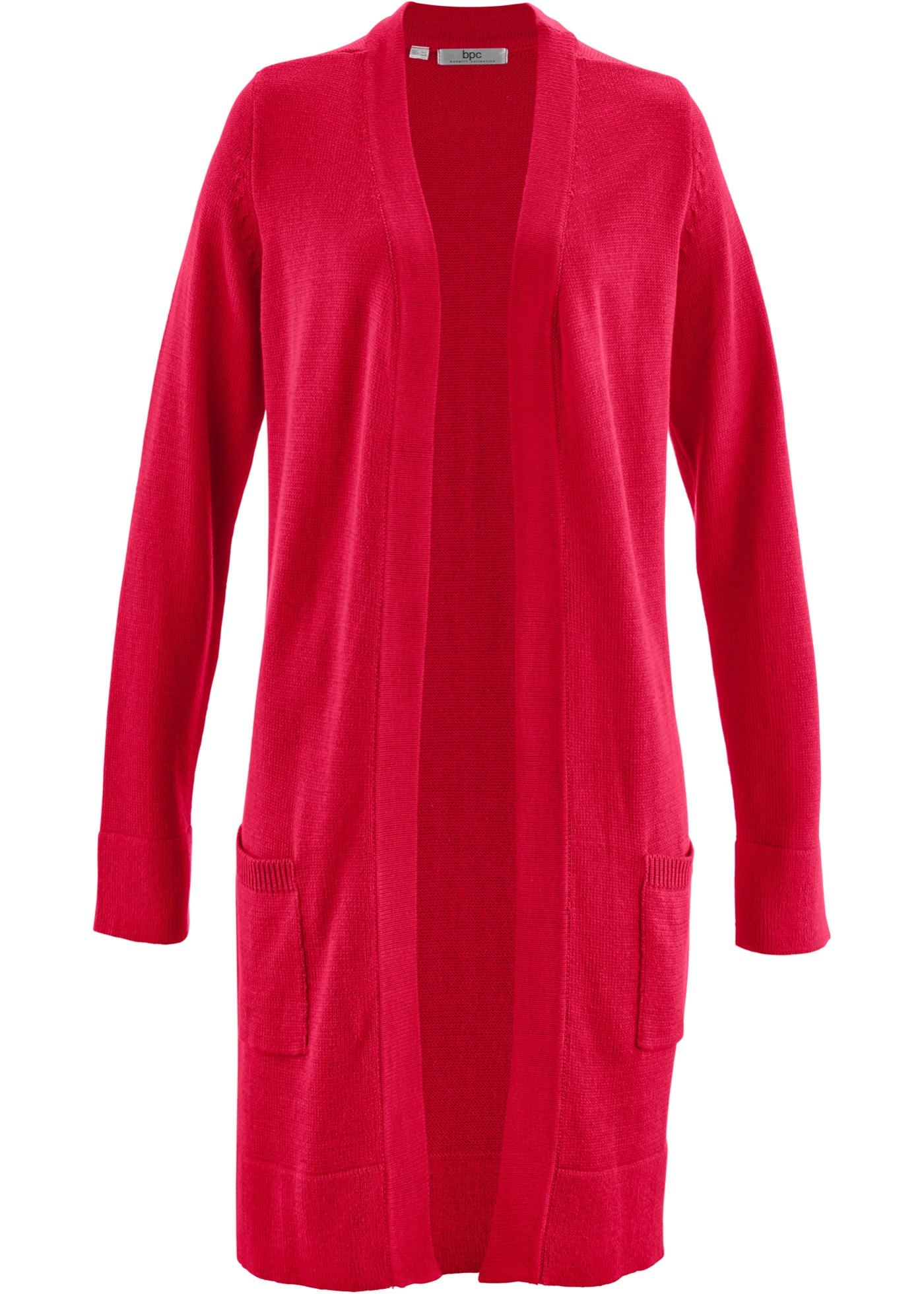Dlouhý pletený kabátek, dlouhý rukáv - Červená