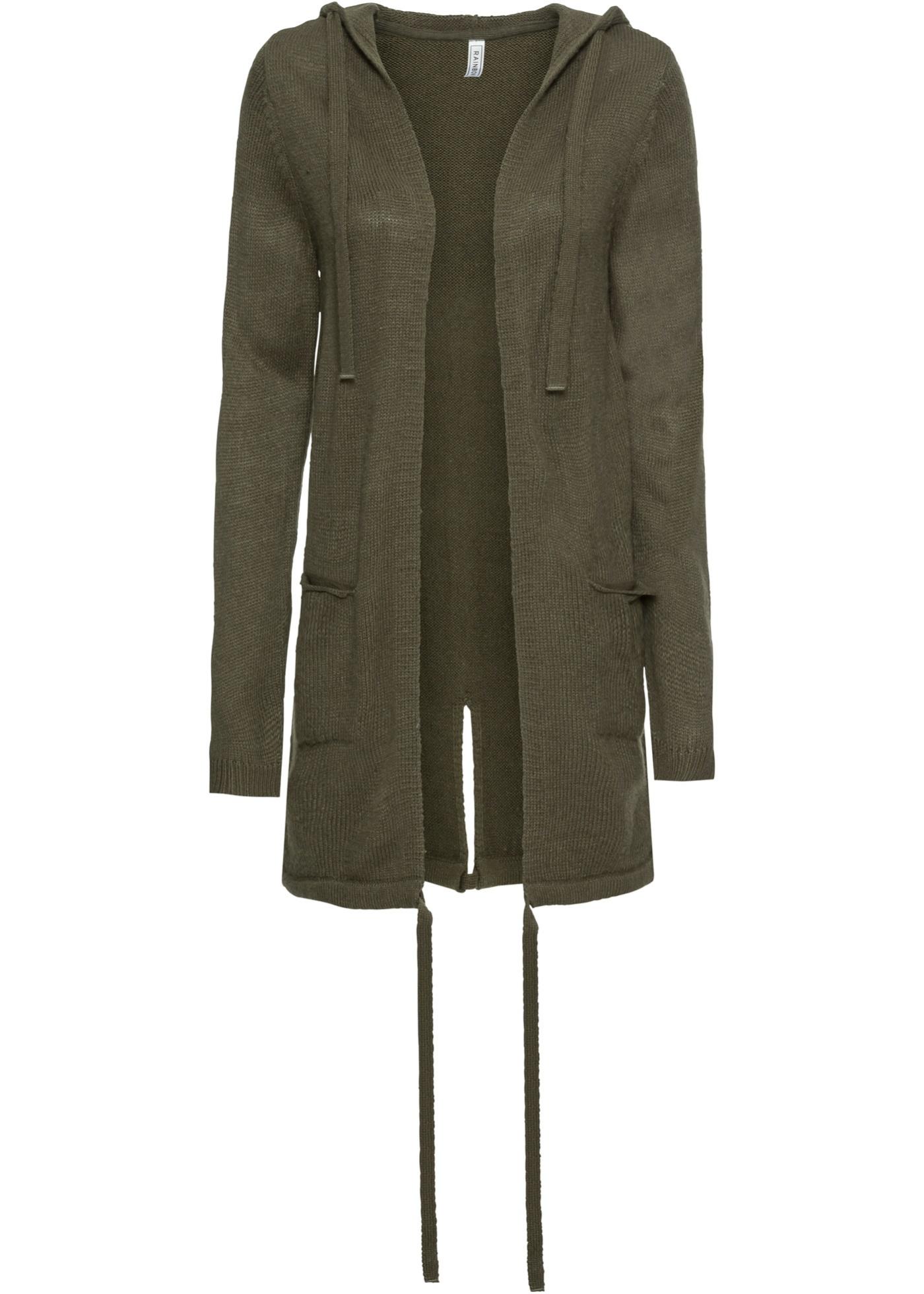 Pletený kabátek s kapsami a kapucí - Zelená