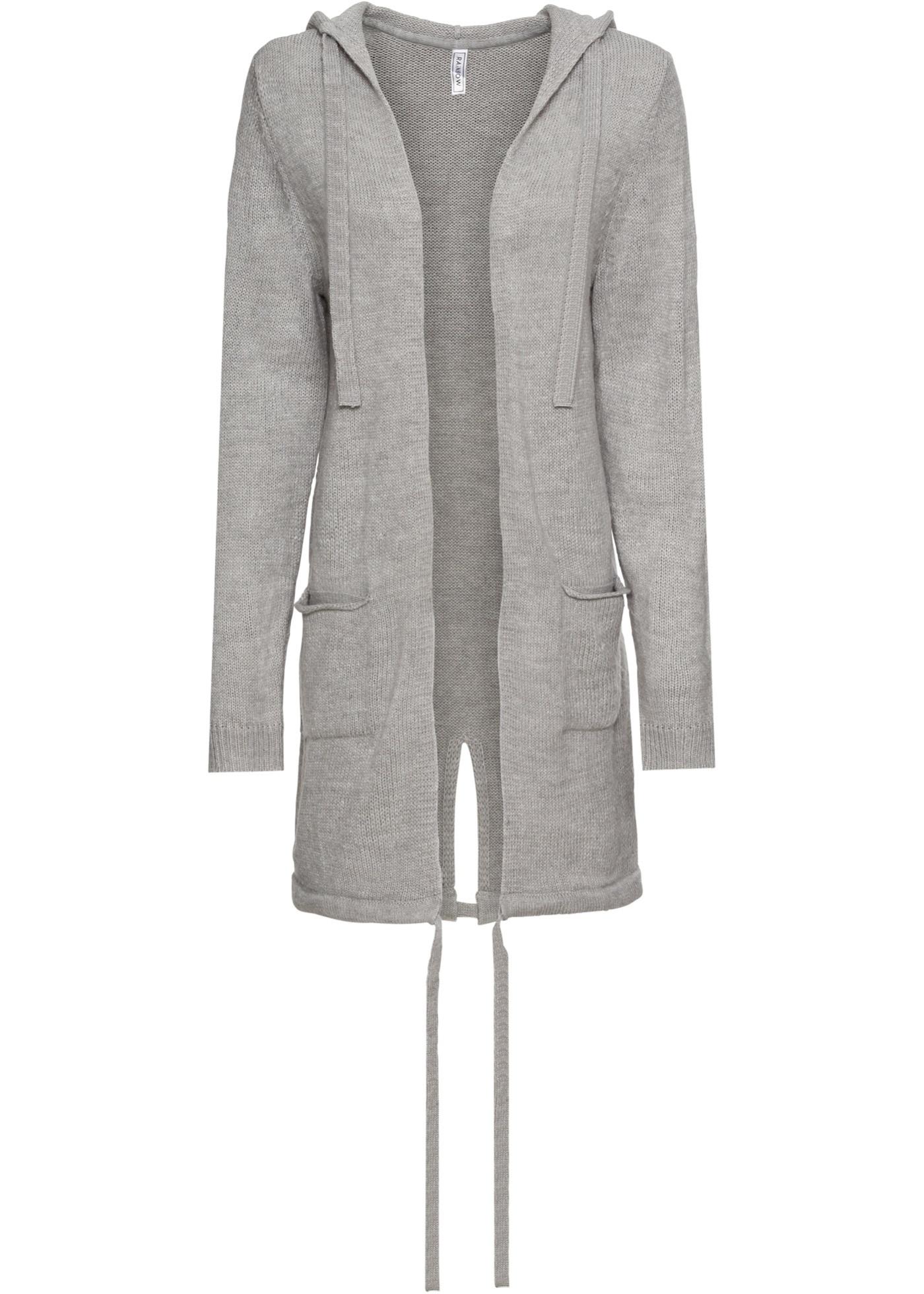 Pletený kabátek s kapsami a kapucí - Šedá