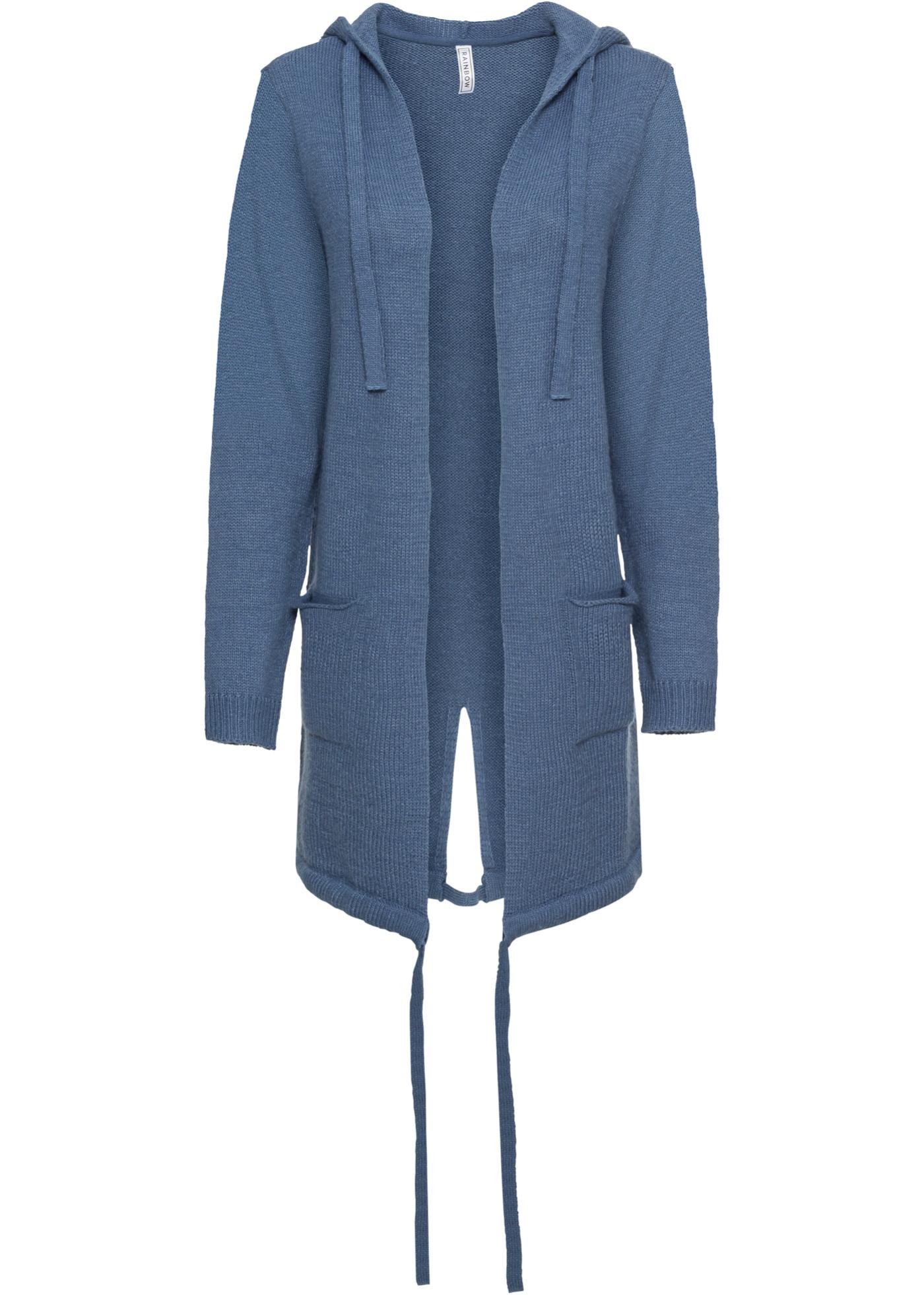 Pletený kabátek s kapsami a kapucí - Modrá