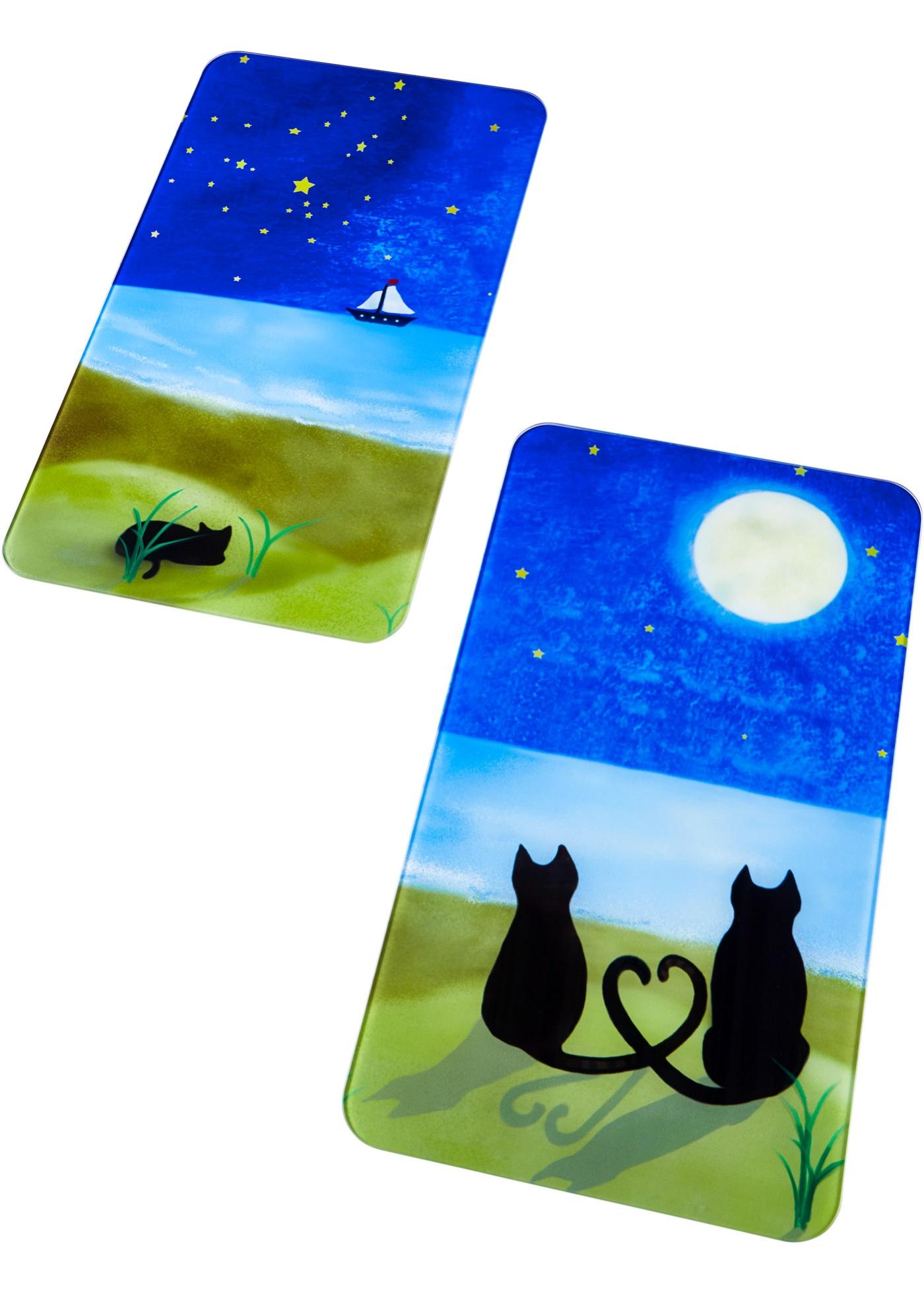 Ochranné desky na sporák ''Kočky'' (2dílná souprava) - Modrá