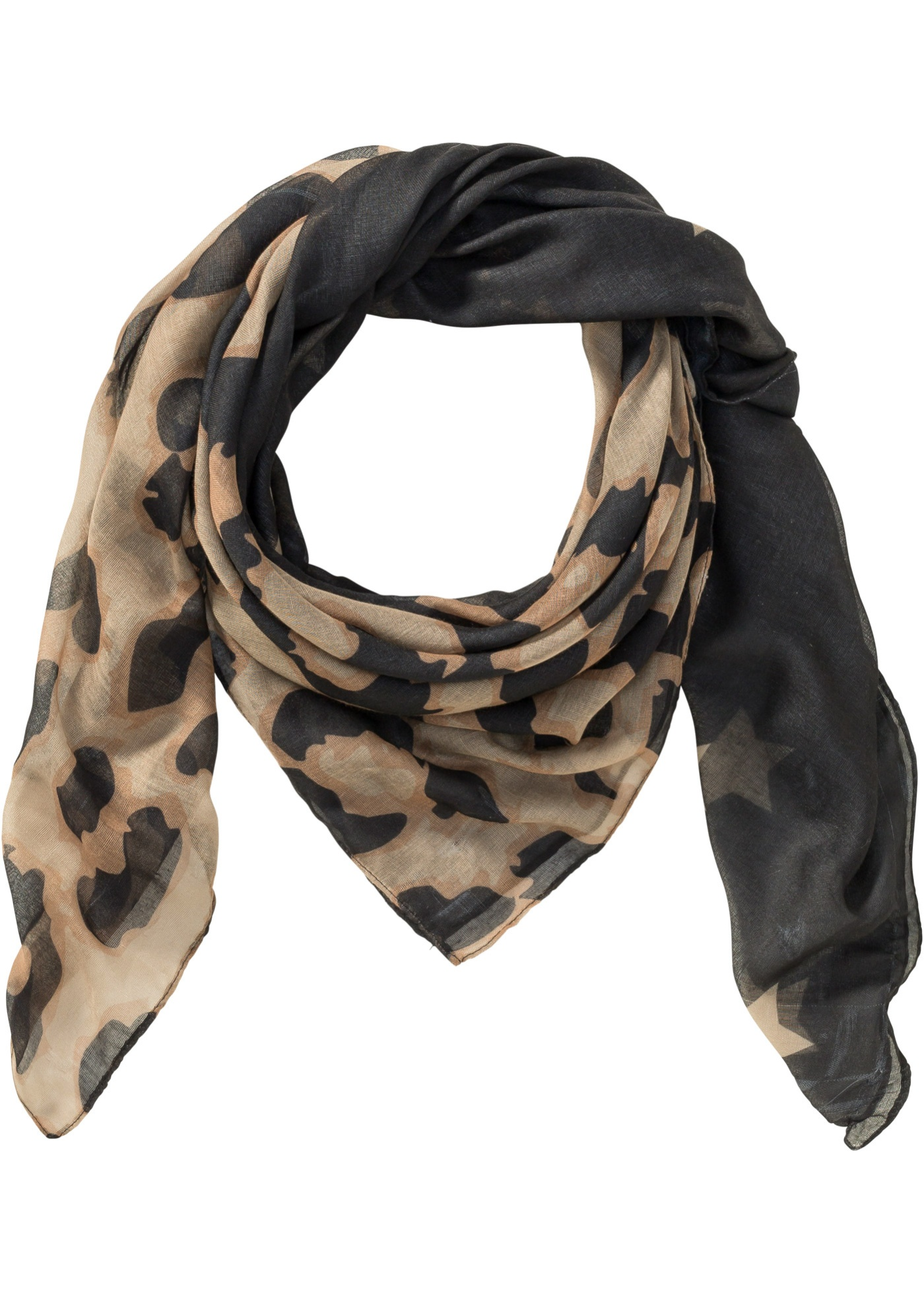 Šátek s leopardím motivem - Černá