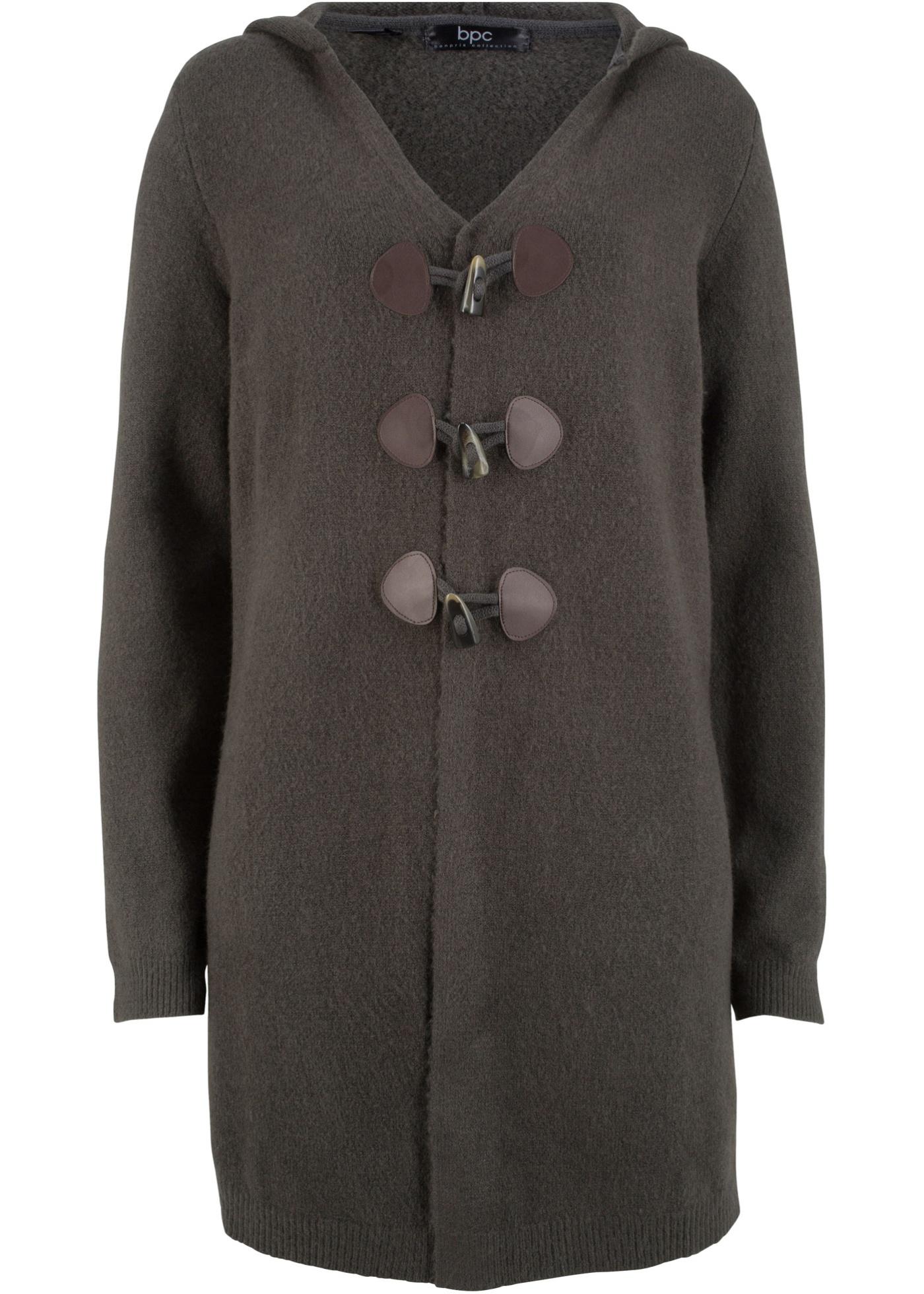 Dlouhý pletený kabátek s kapucí - Šedá