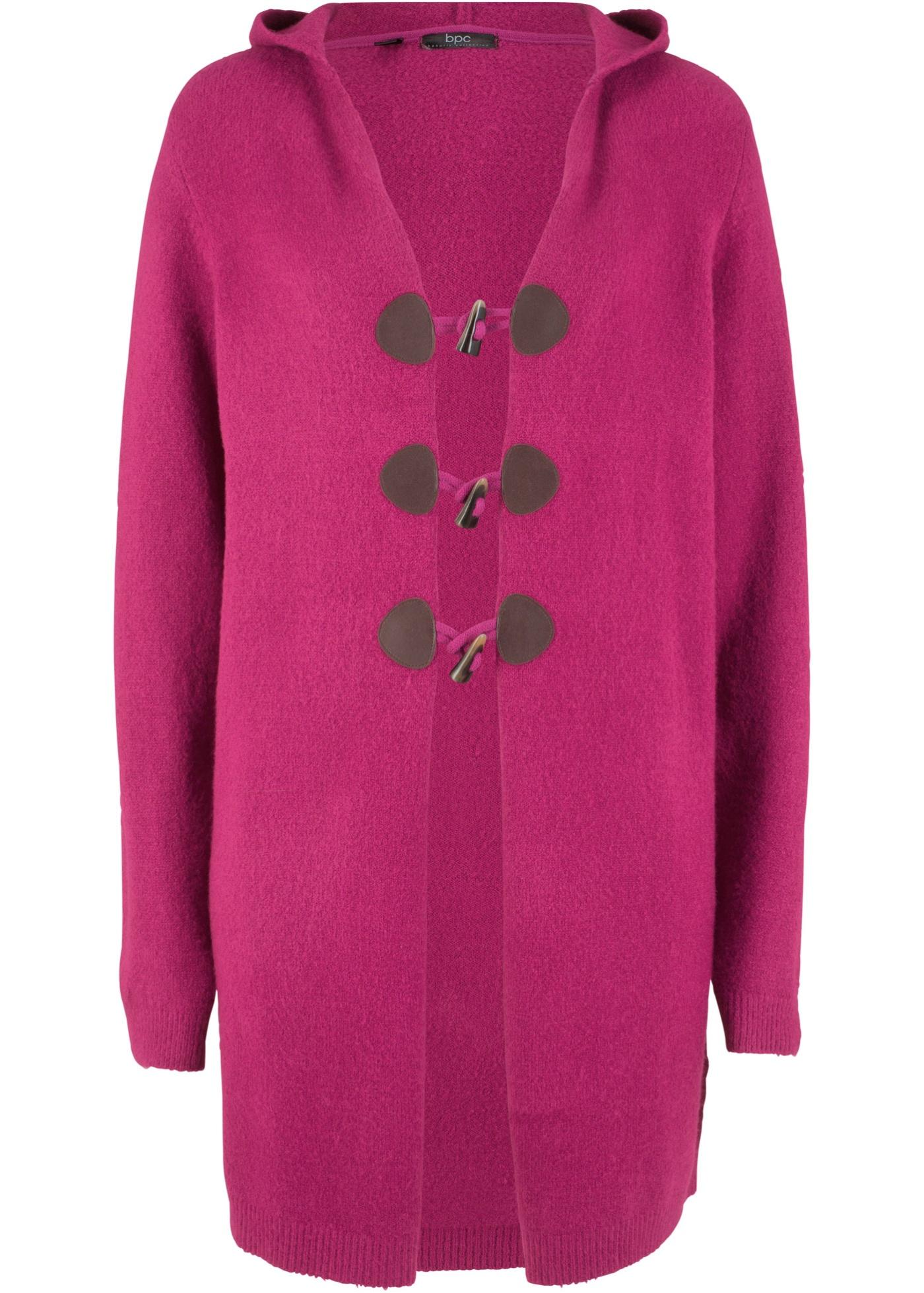 Dlouhý pletený kabátek s kapucí - Pink