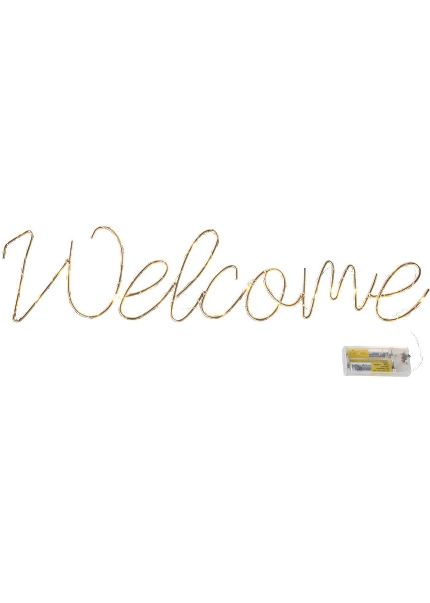 LED nápis Welcome - Stříbrná