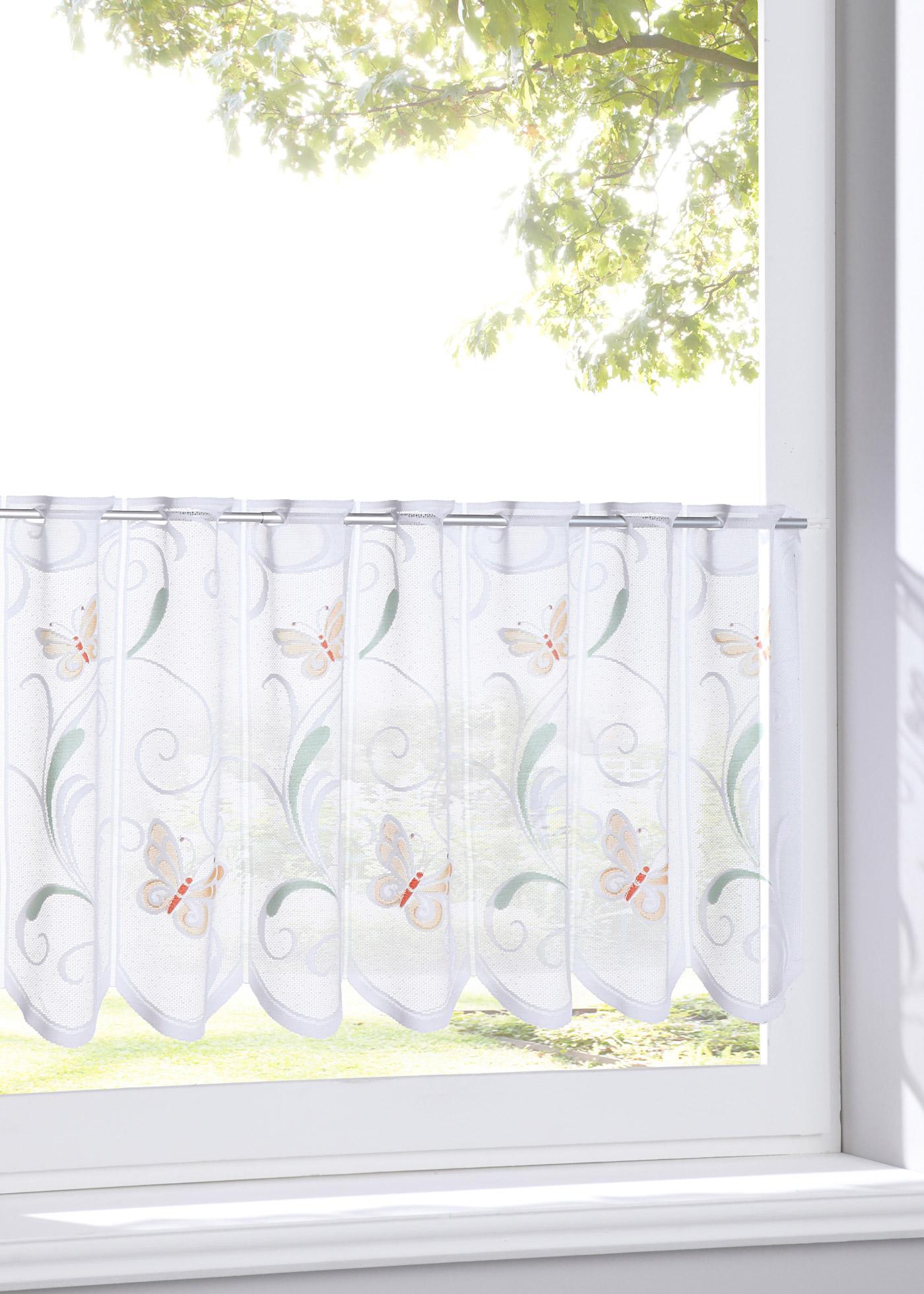 Vitrážková záclona ''Motýl'' - Bílá
